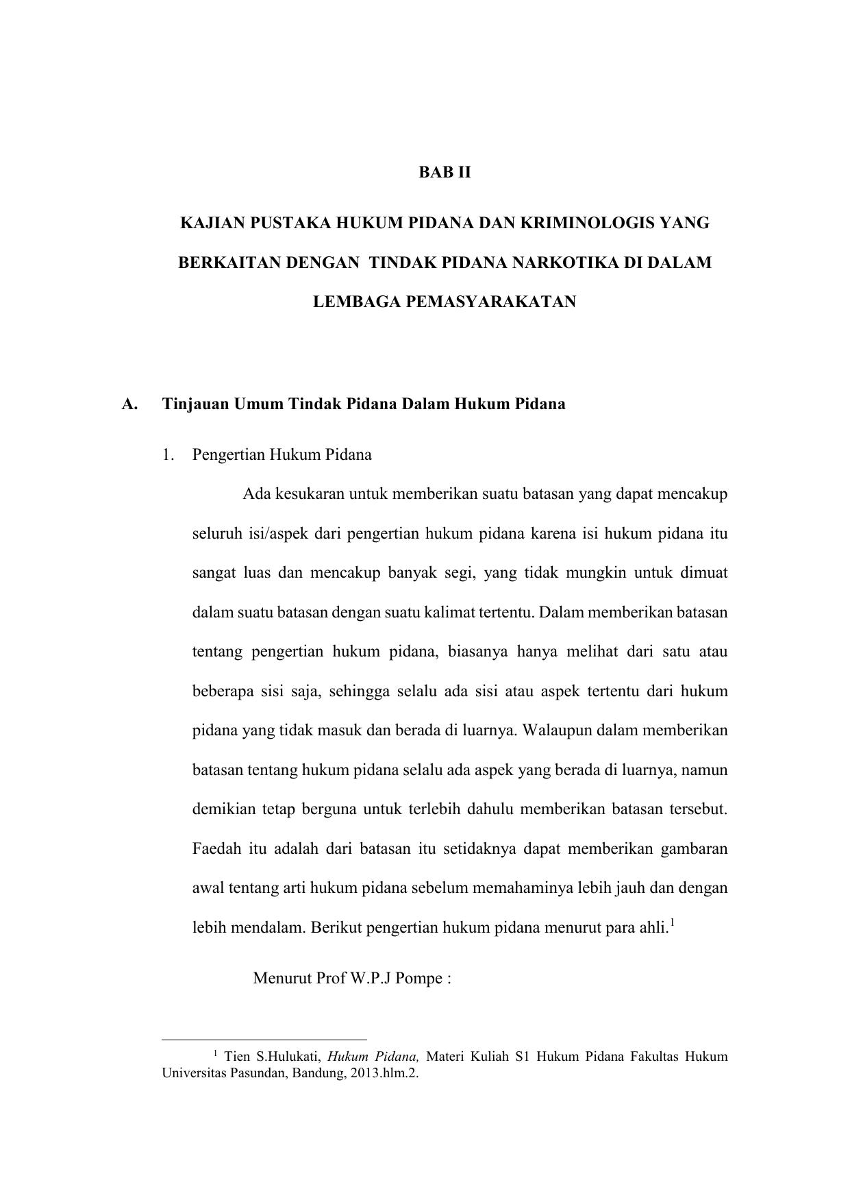 Bab Ii Kajian Pustaka Hukum Pidana Dan Kriminologis