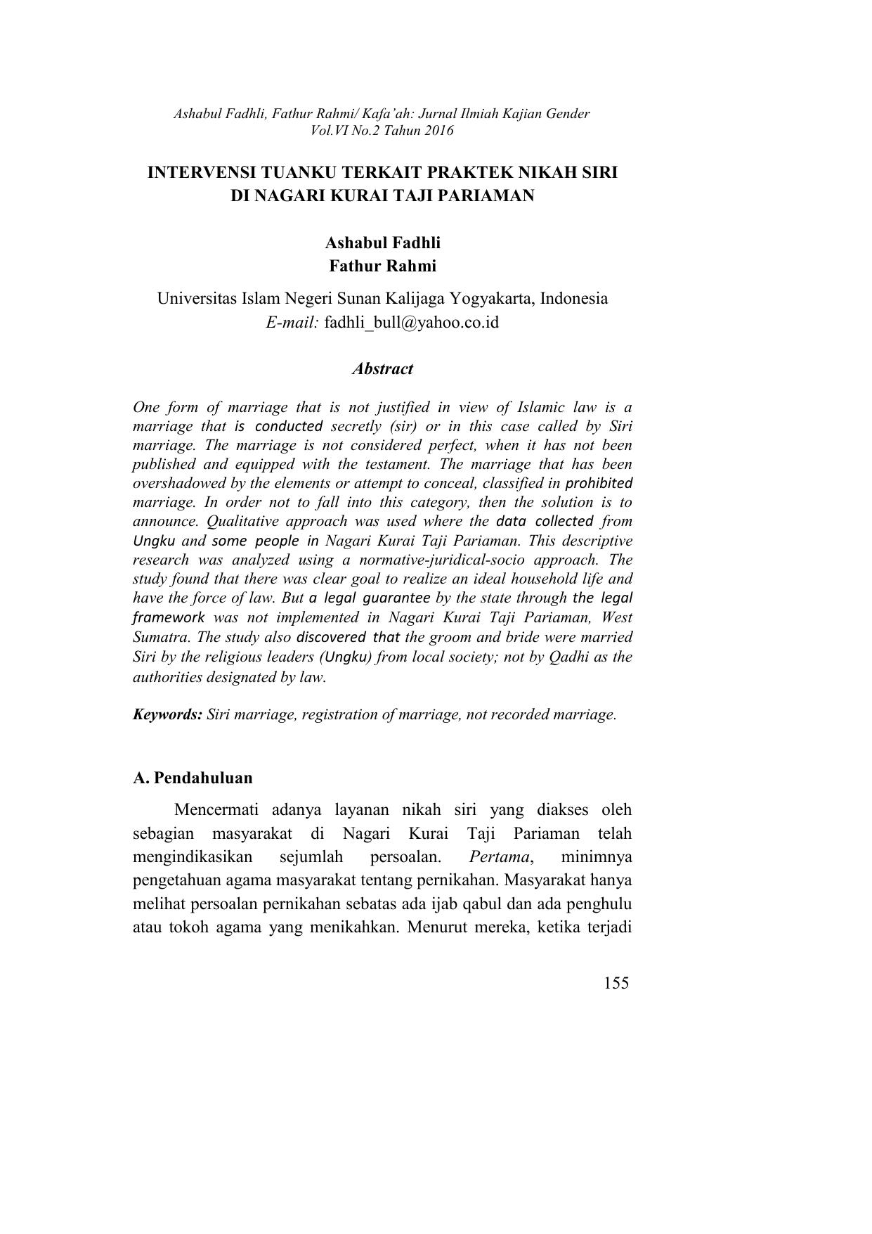 155 Intervensi Tuanku Terkait Praktek Nikah Siri Di
