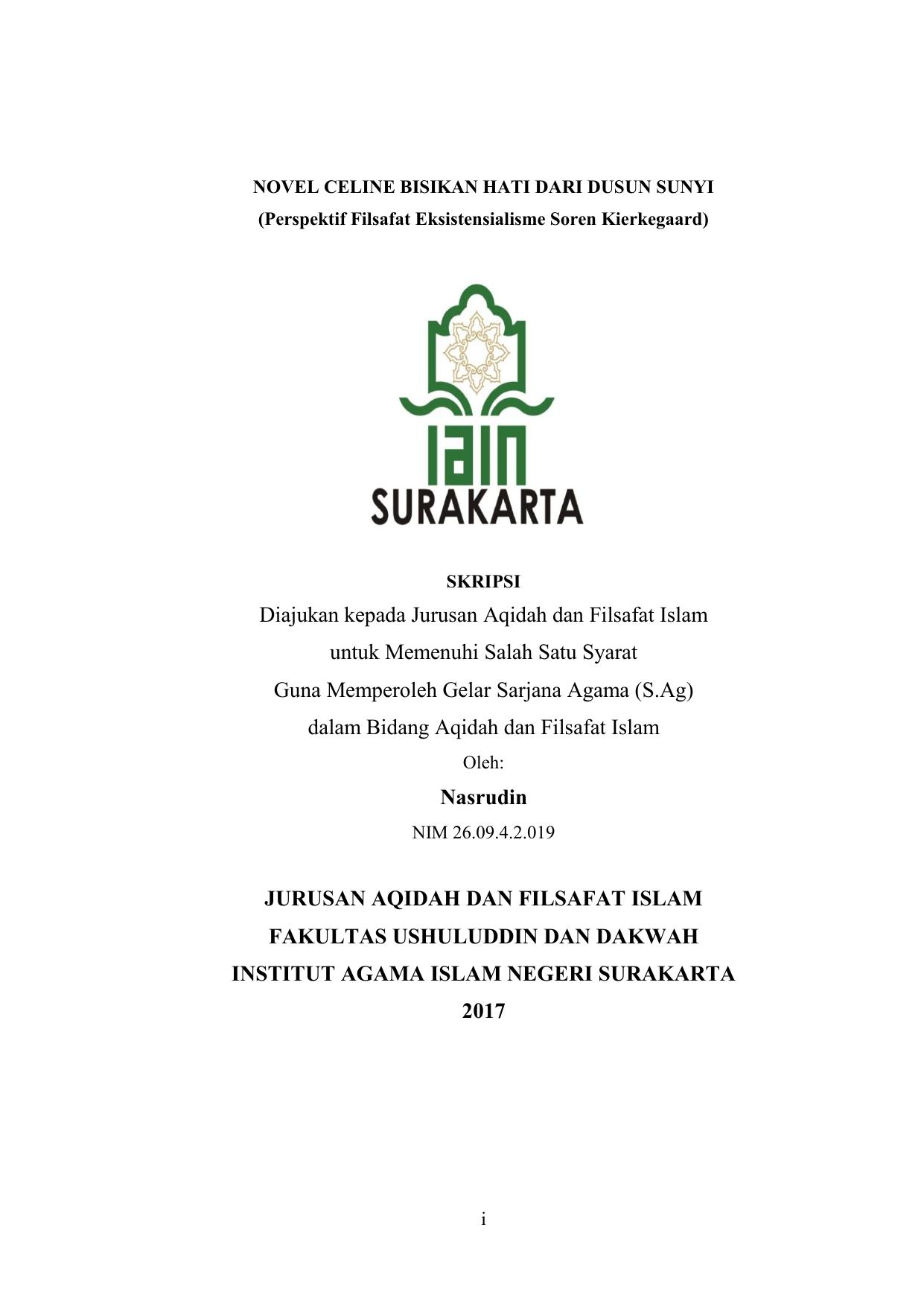 Diajukan Kepada Jurusan Aqidah Dan Filsafat Islam Untuk