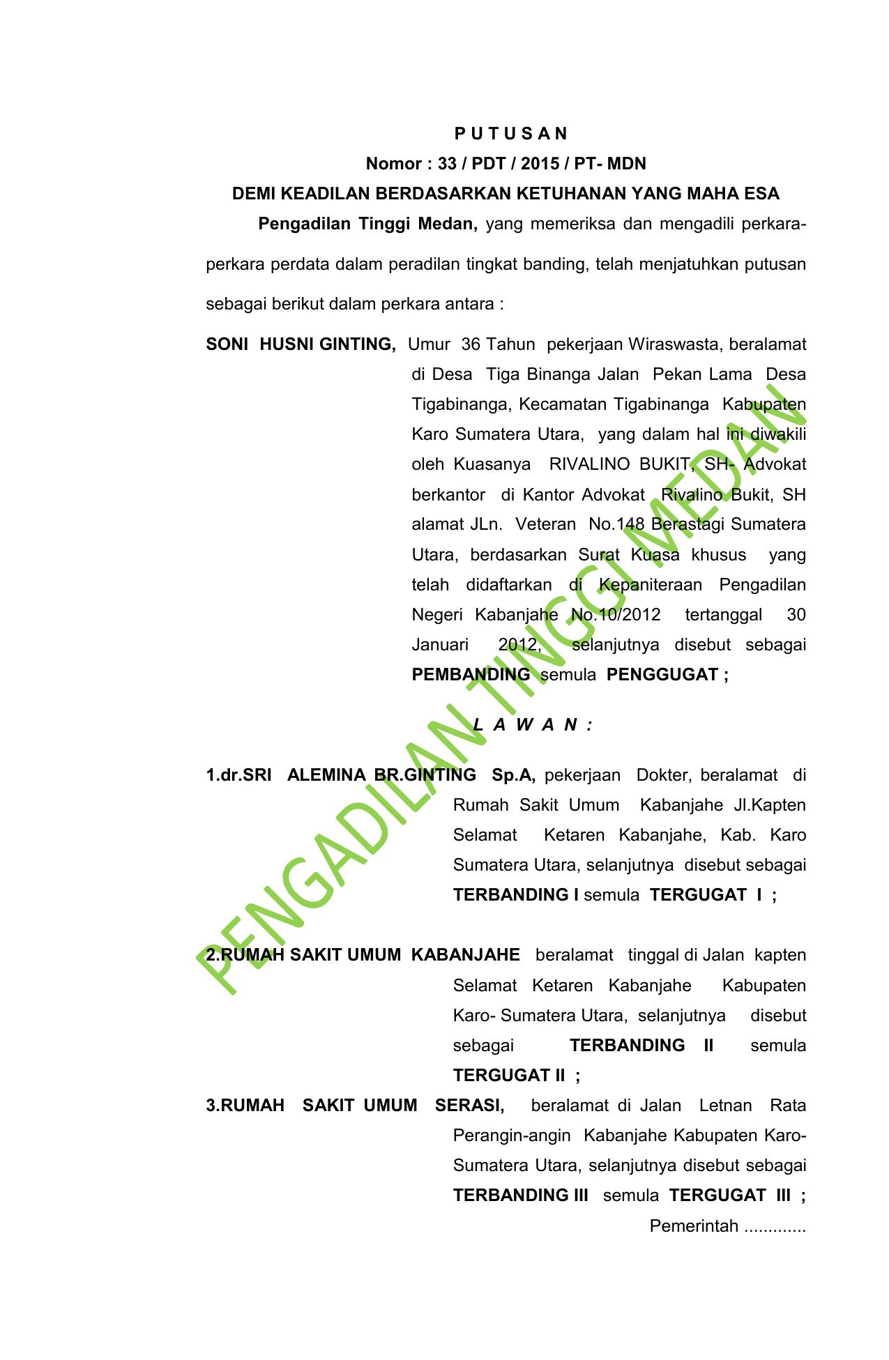 P U T U S A N Pengadilan Tinggi Medan