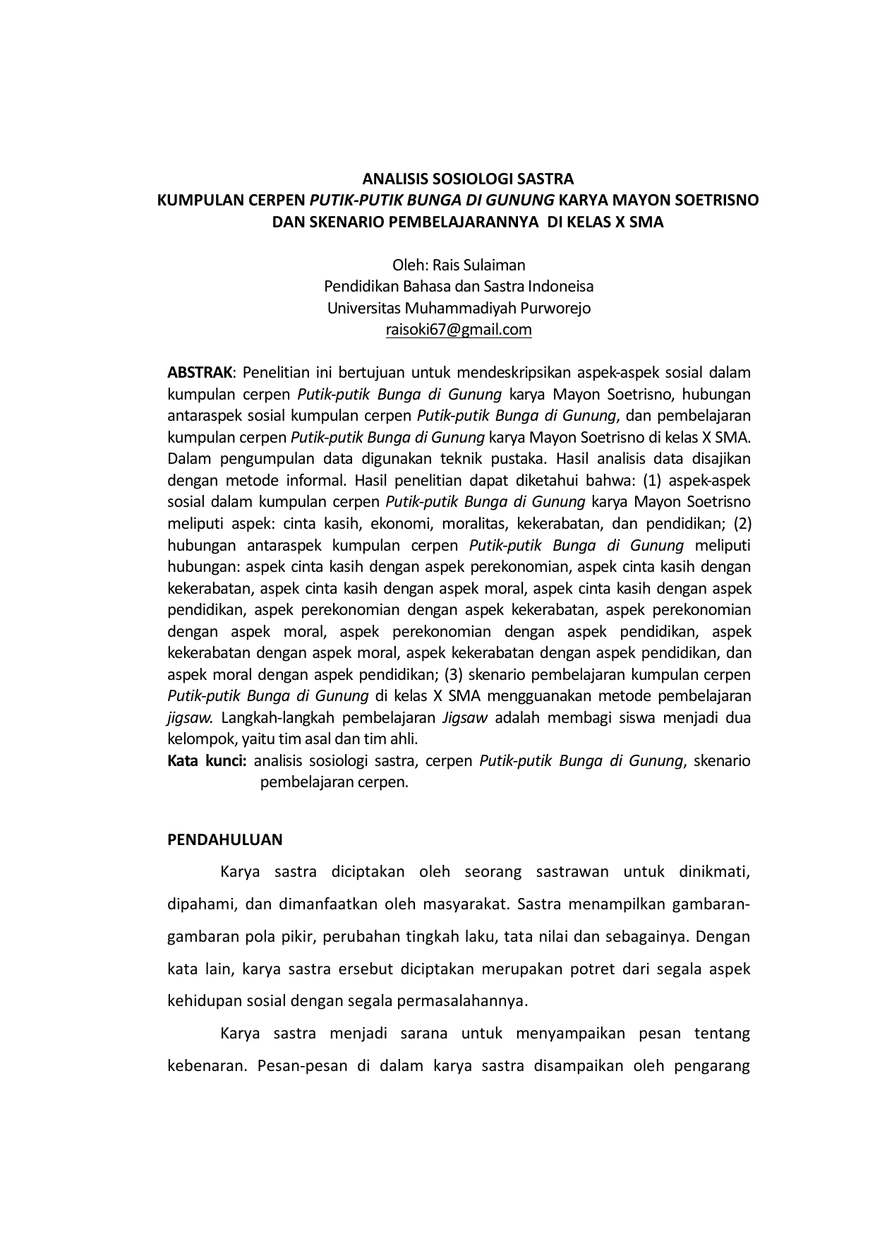 Analisis Sosiologi Sastra Kumpulan Cerpen Putik