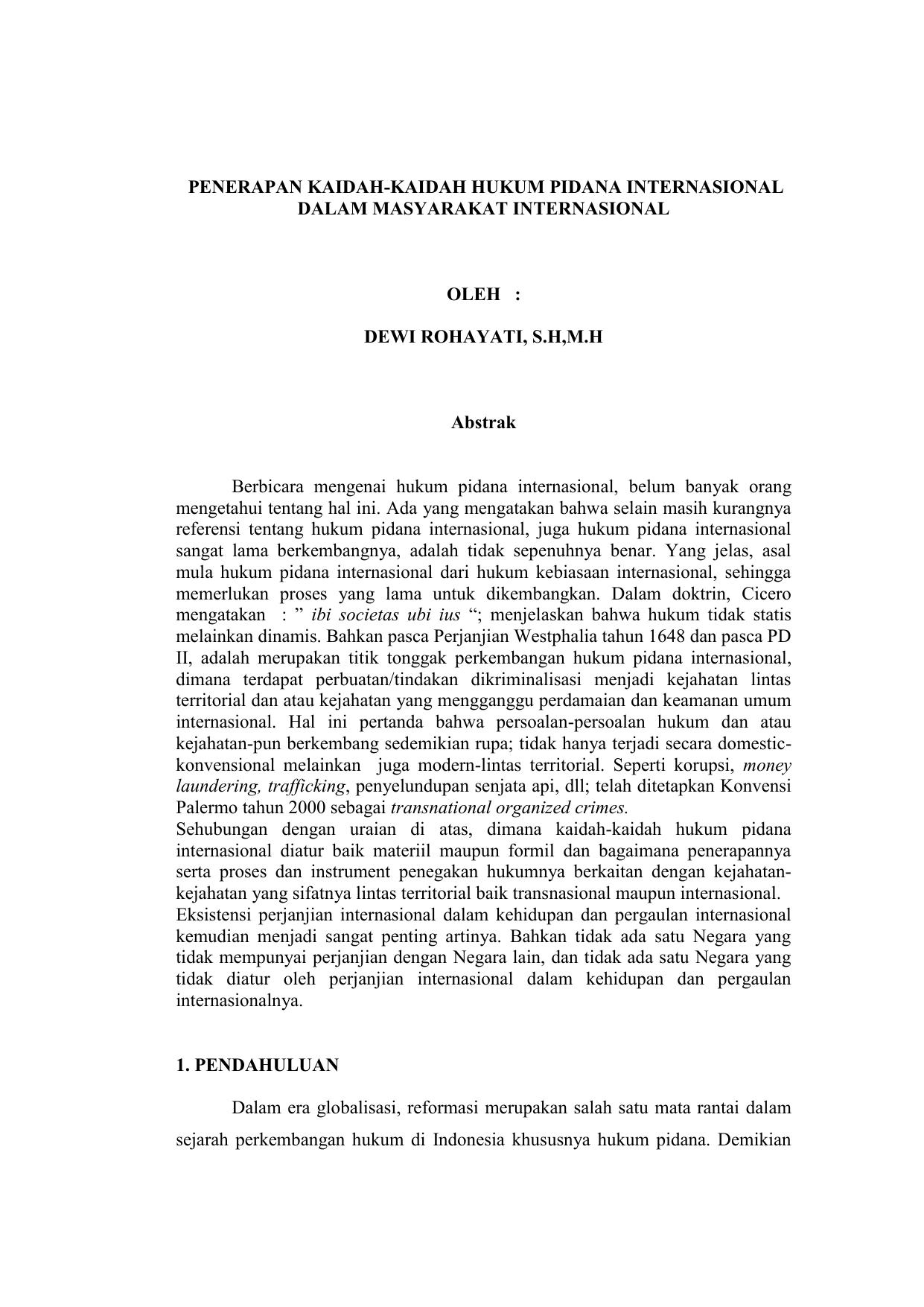 Penerapan Kaidah Kaidah Hukum Pidana Internasional