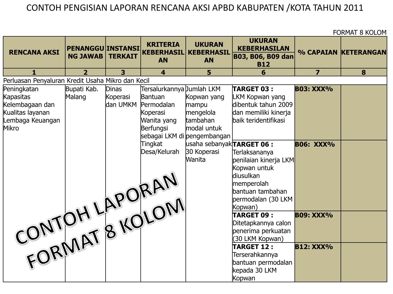 Contoh Pengisian Laporan Rencana Aksi Kabupaten Kota