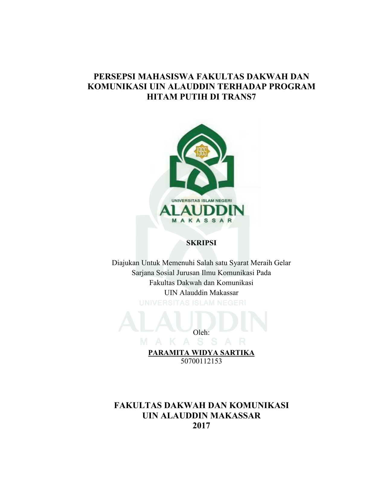 Persepsi Mahasiswa Fakultas Dakwah Dan Komunikasi Uin Alauddin
