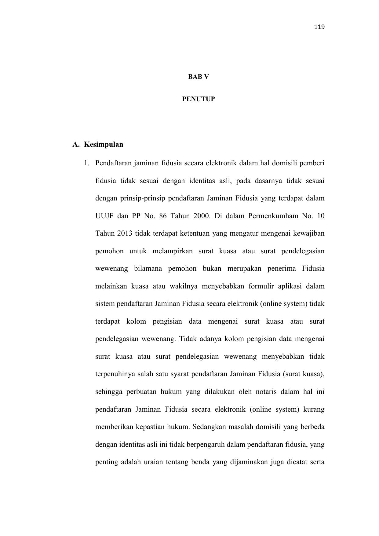 A Kesimpulan 1 Pendaftaran Jaminan Fidusia Secara