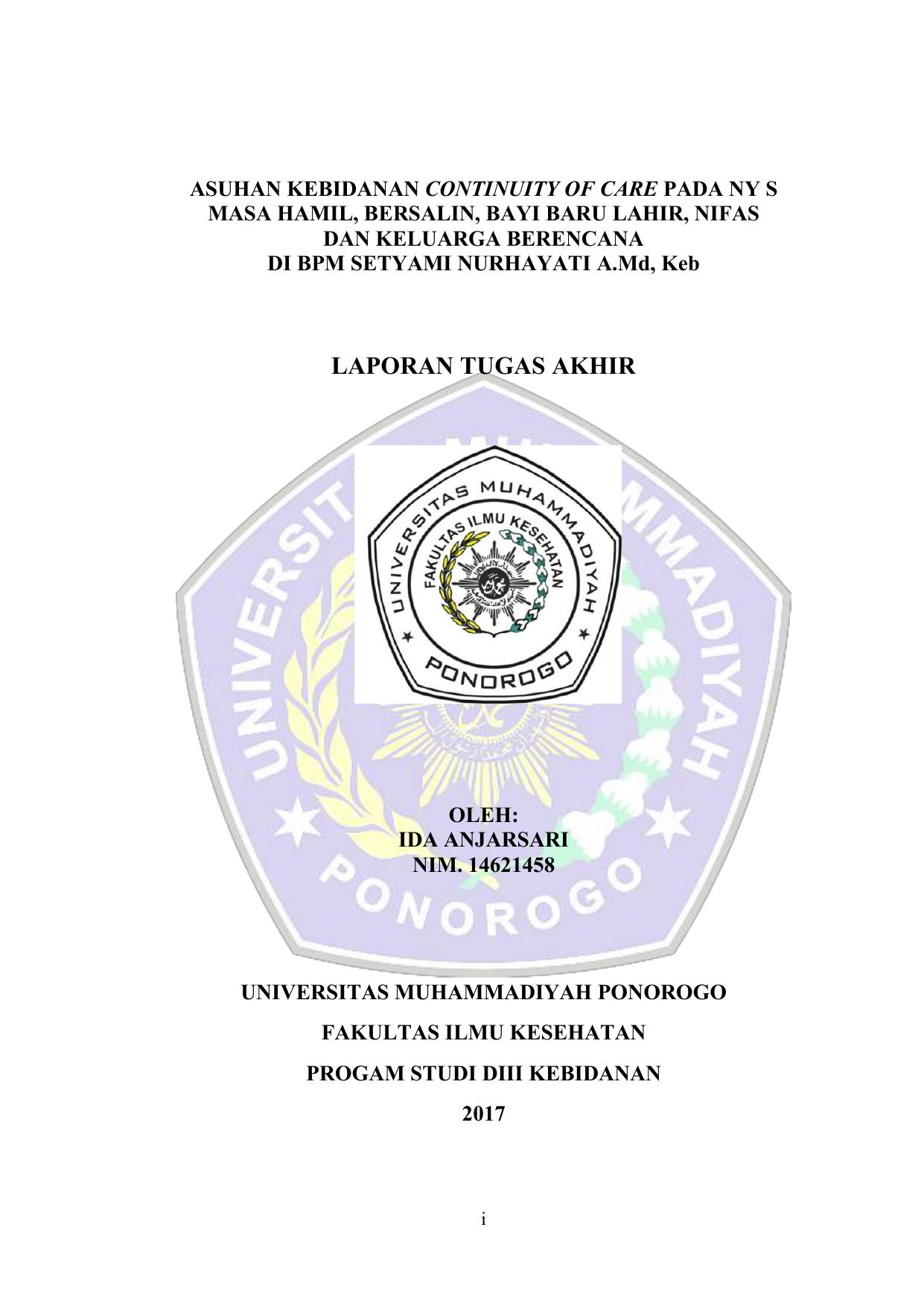 Laporan Tugas Akhir Universitas Muhammadiyah Ponorogo