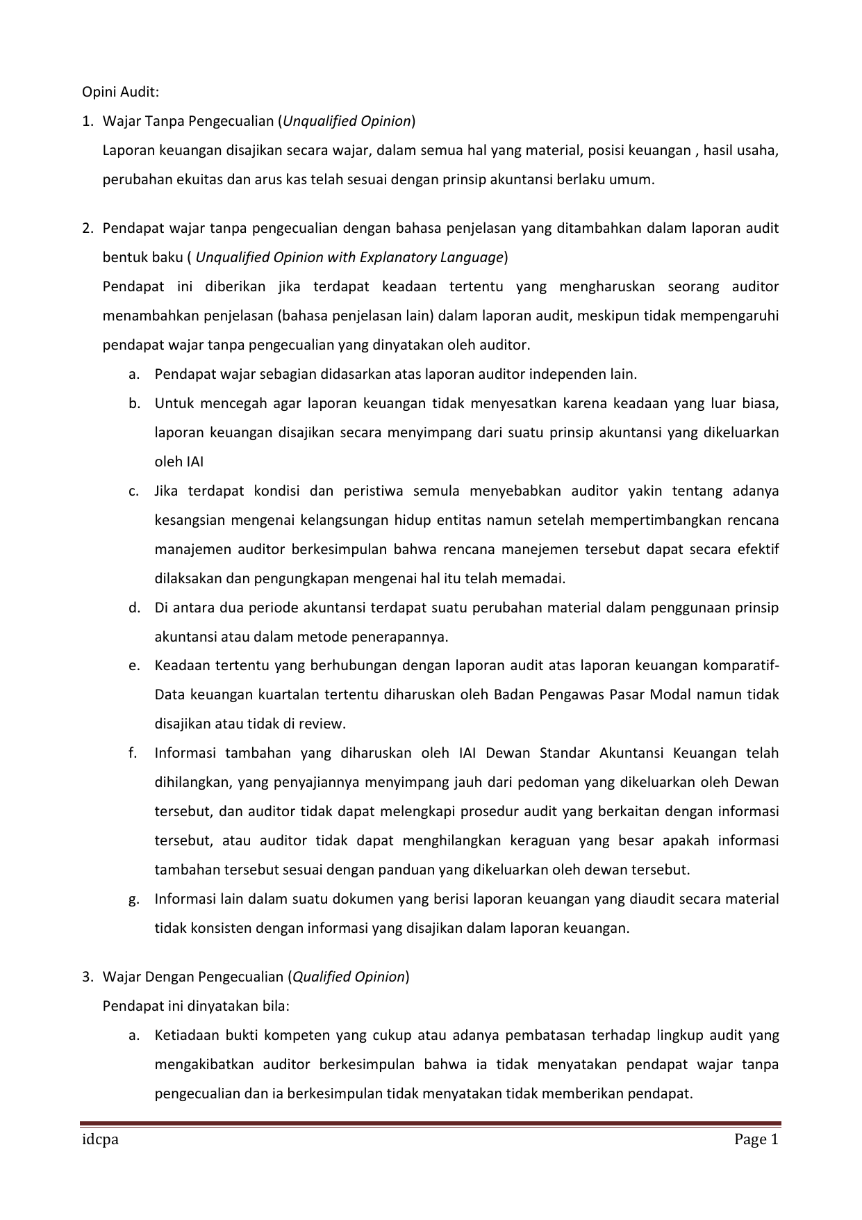 Laporan Auditor Independen Wajar Tanpa Pengecualian Dengan Paragraf Penjelas Seputar Laporan