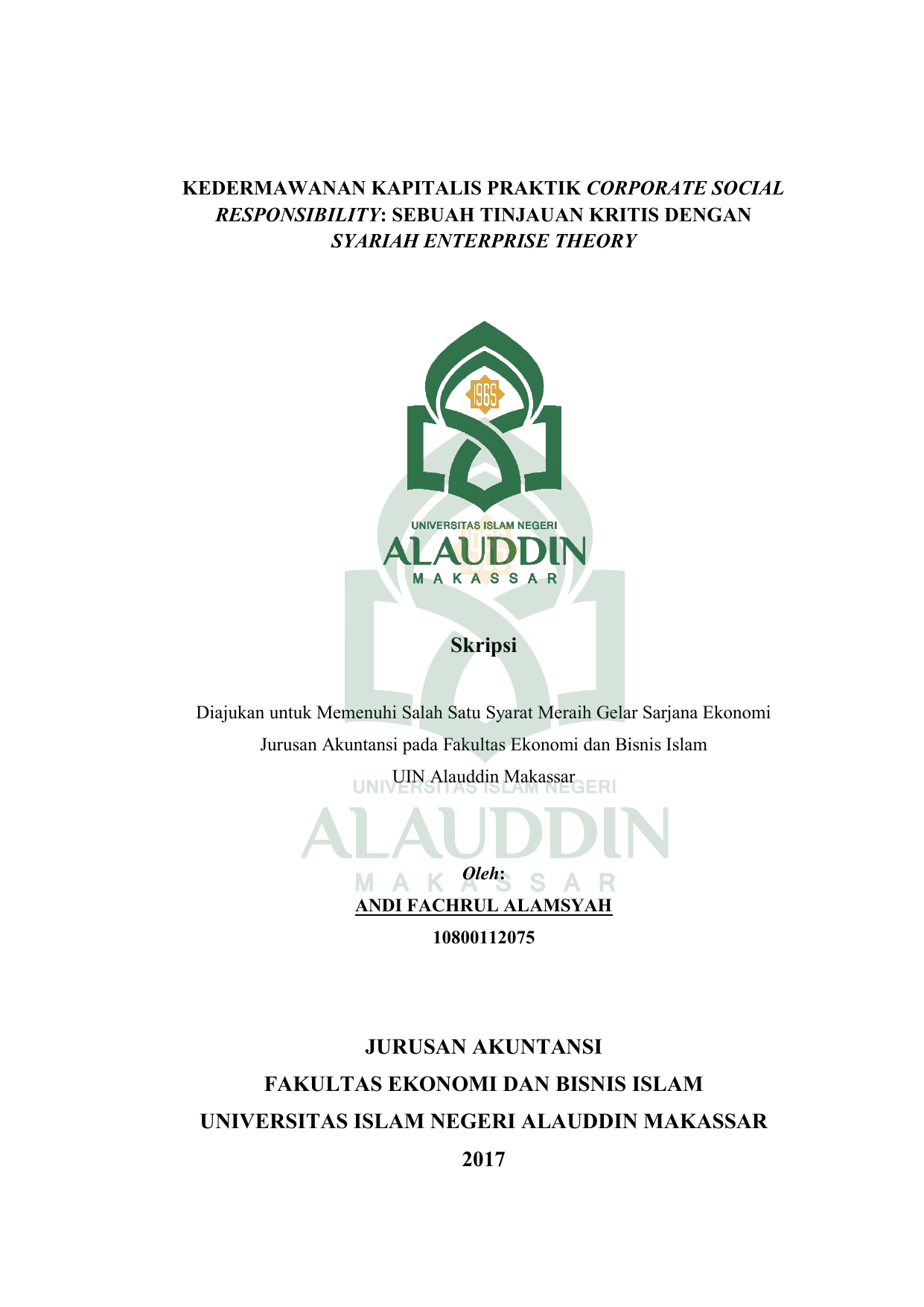 Skripsi Jurusan Akuntansi Fakultas Ekonomi Dan Bisnis
