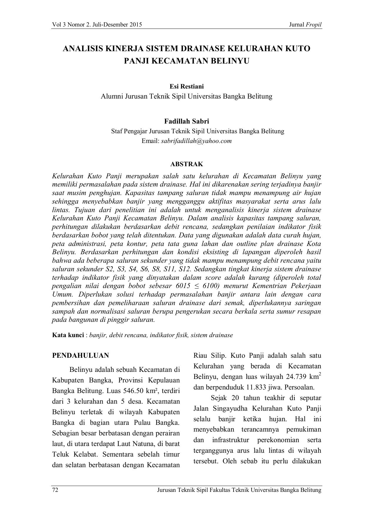 Analisis Kinerja Sistem Drainase Kelurahan Kuto Panji