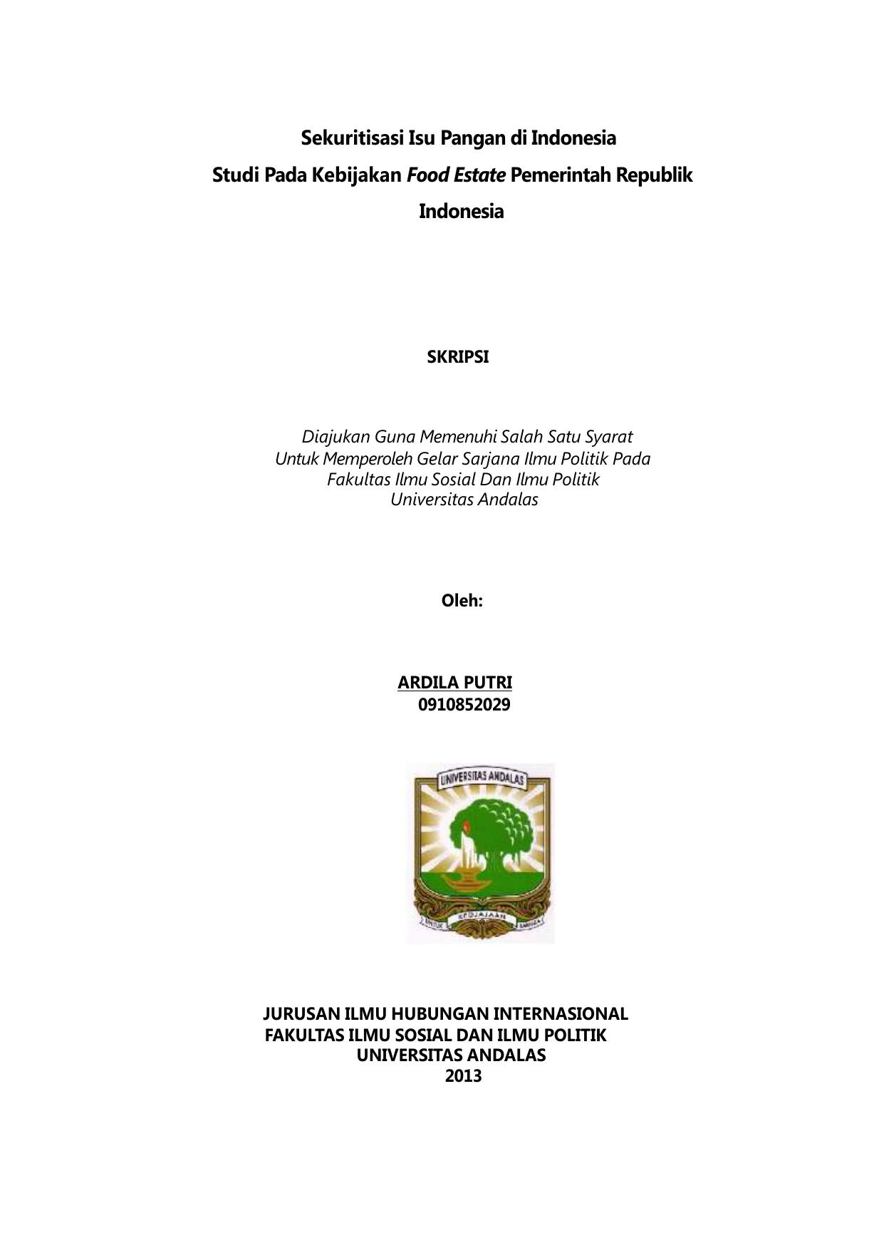 Judul Skripsi Hubungan Internasional Tentang Lingkungan Hidup Kumpulan Berbagai Skripsi
