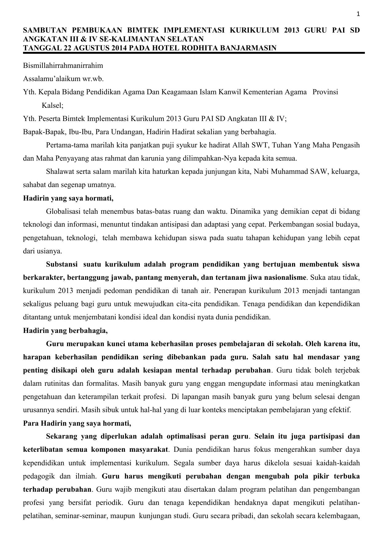 Sambutan Pembukaan Bimtek Implementasi Kurikulum 2013 Guru