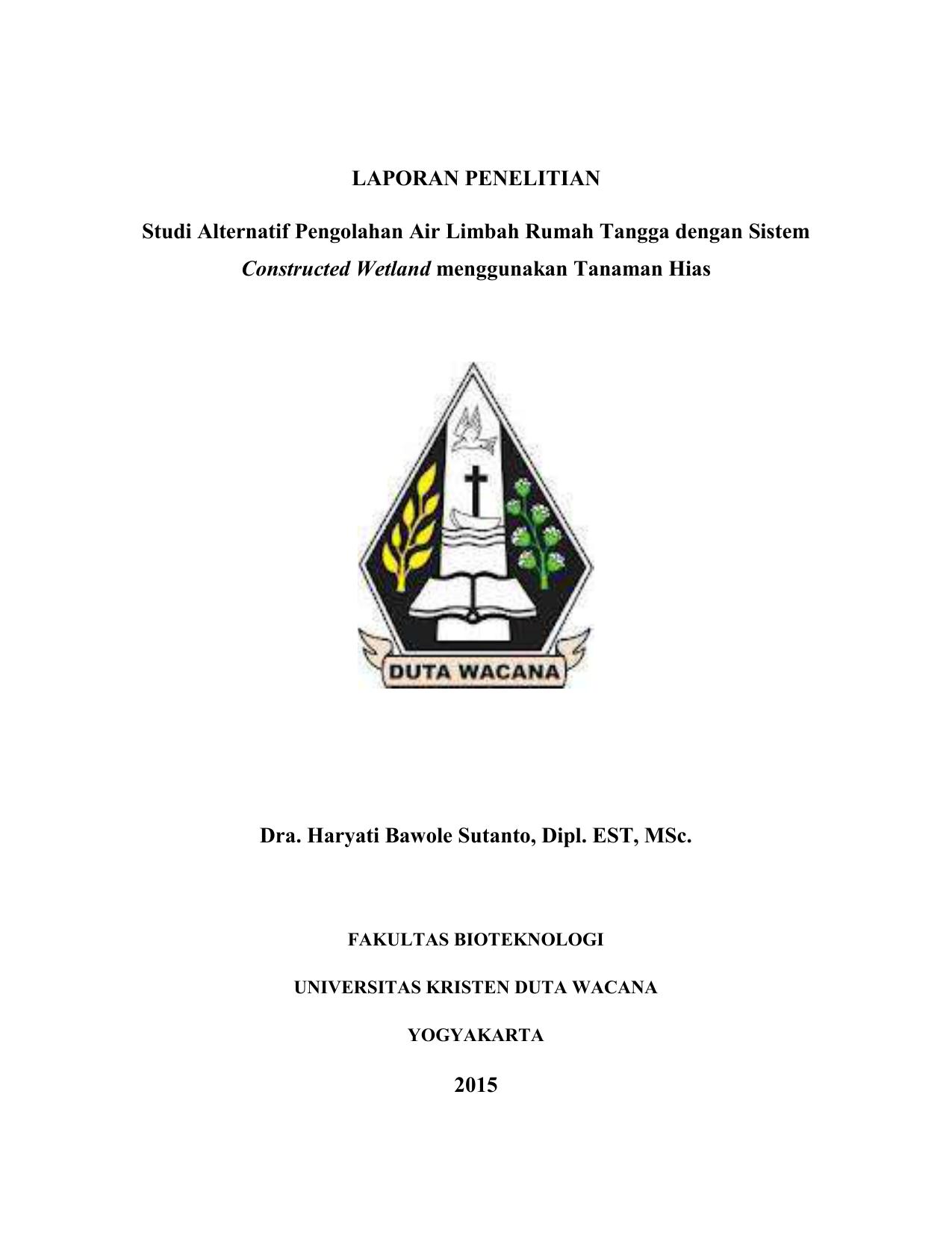 Proposal Penelitian Universitas Kristen Duta Wacana