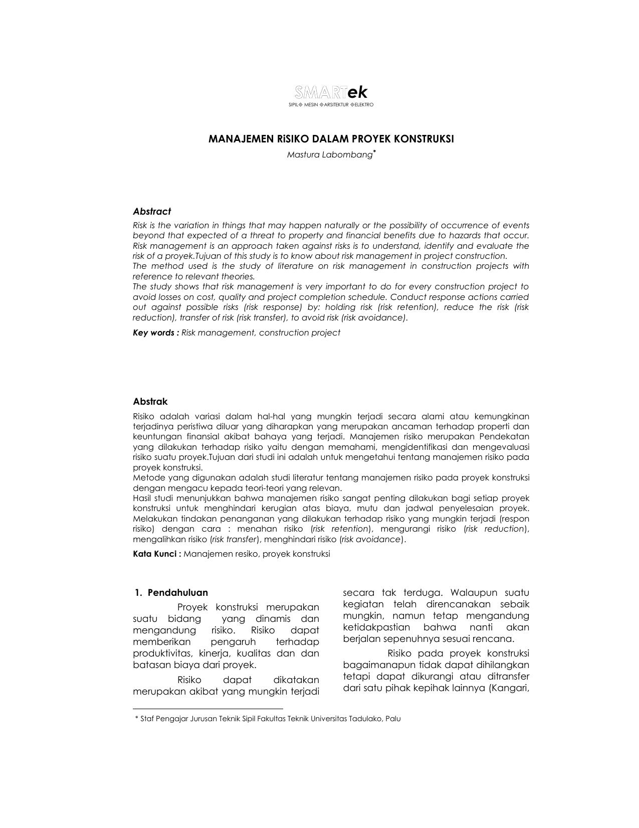 Contoh Skripsi Teknik Sipil Manajemen Konstruksi Kumpulan