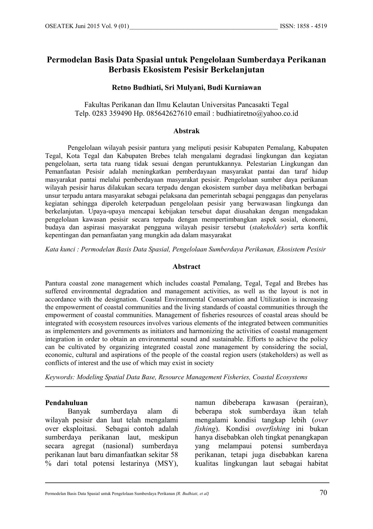 Permodelan Basis Data Spasial Untuk Pengelolaan