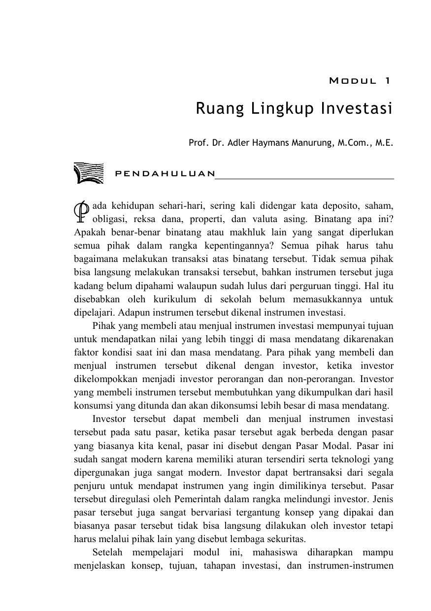 1 Jelaskan Jenis Jenis Instrumen Investasi Aset Finansial
