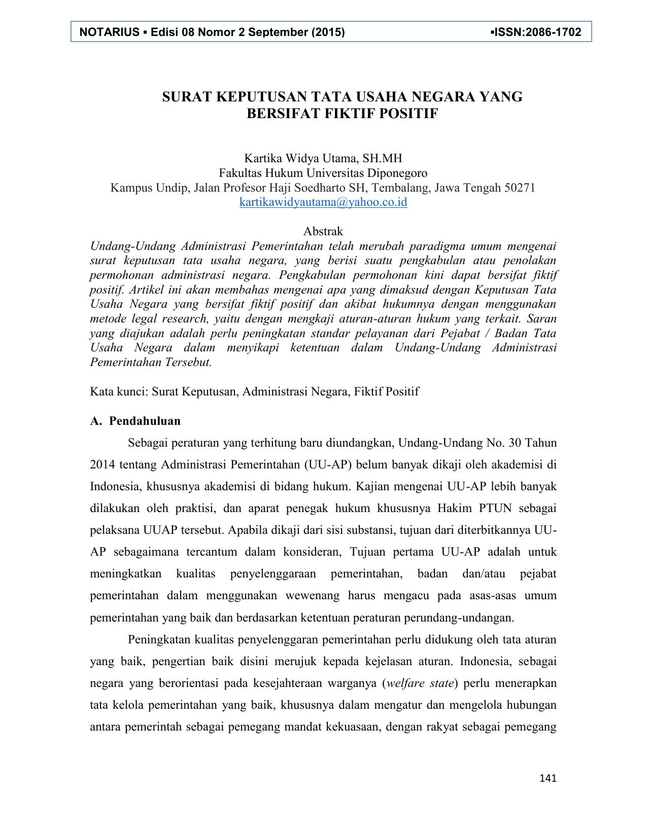 Surat Keputusan Tata Usaha Negara Yang Bersifat E