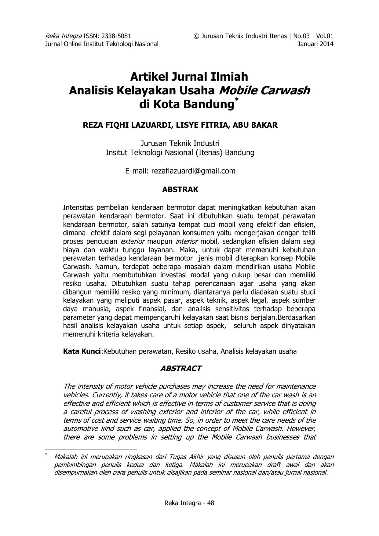 Artikel Jurnal Ilmiah Analisis Kelayakan Usaha Mobile Carwash Di