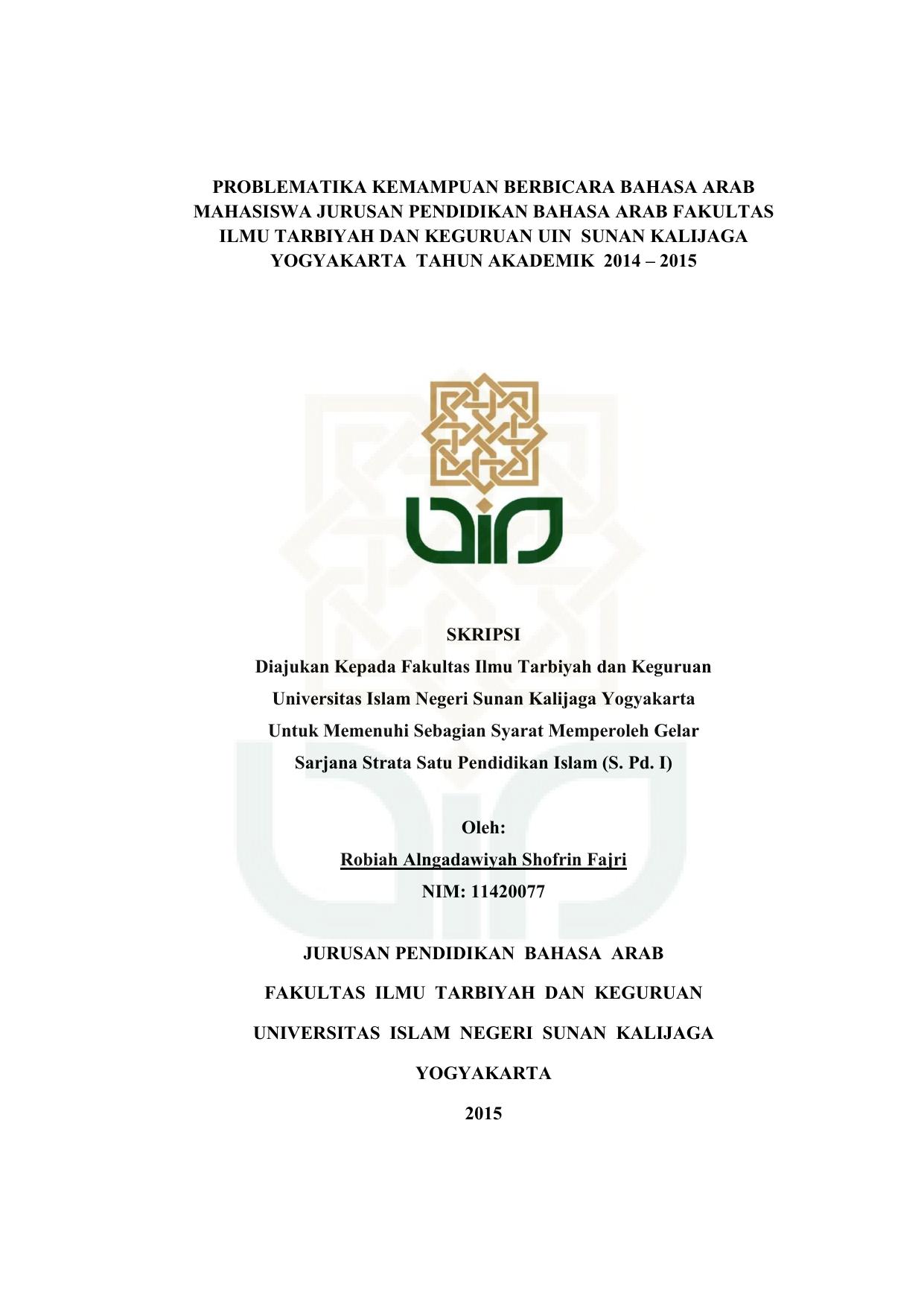 Contoh Proposal Skripsi Bahasa Arab Kualitatif Kumpulan Berbagai Skripsi