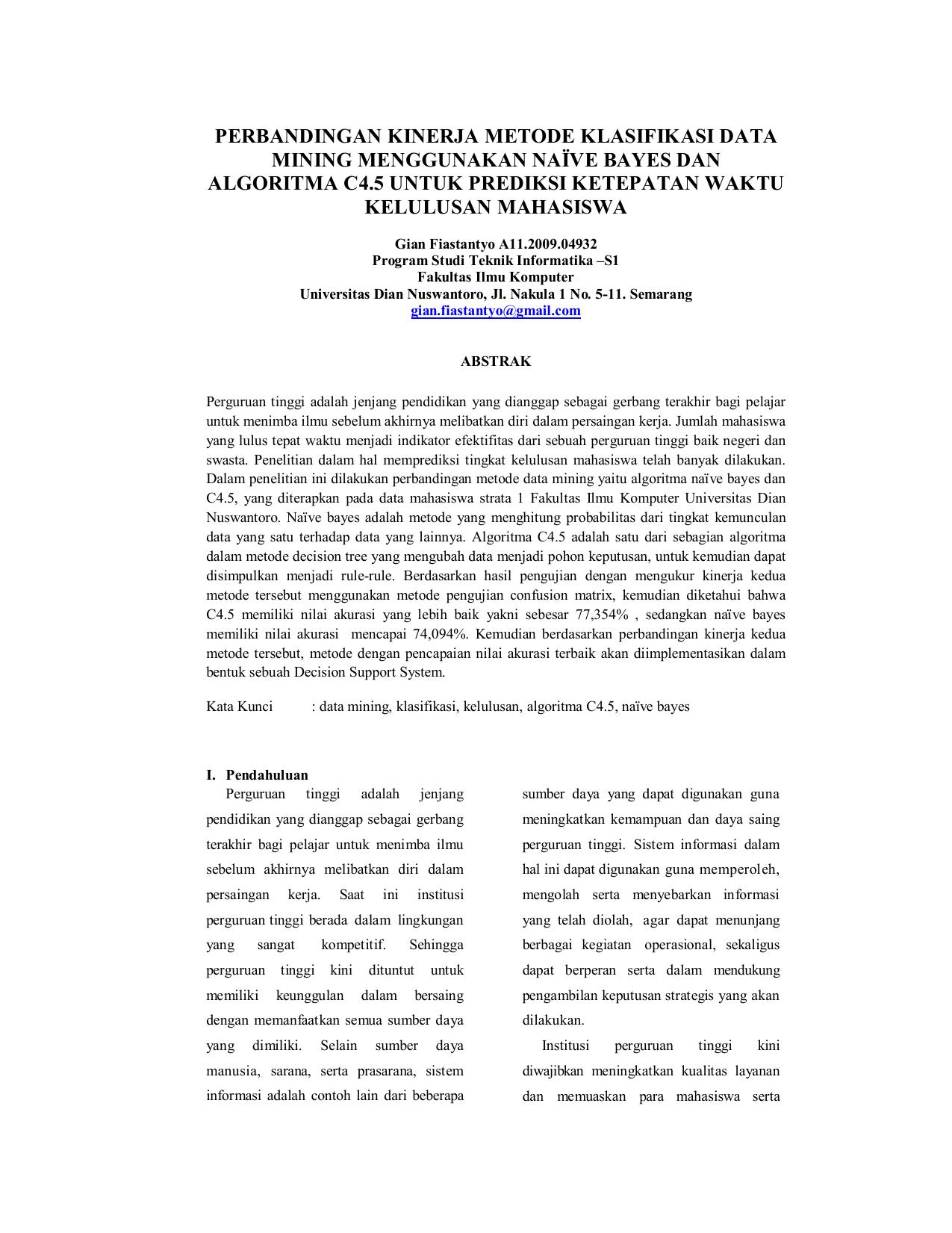 Perbandingan Kinerja Metode Klasifikasi Data Mining Menggunakan