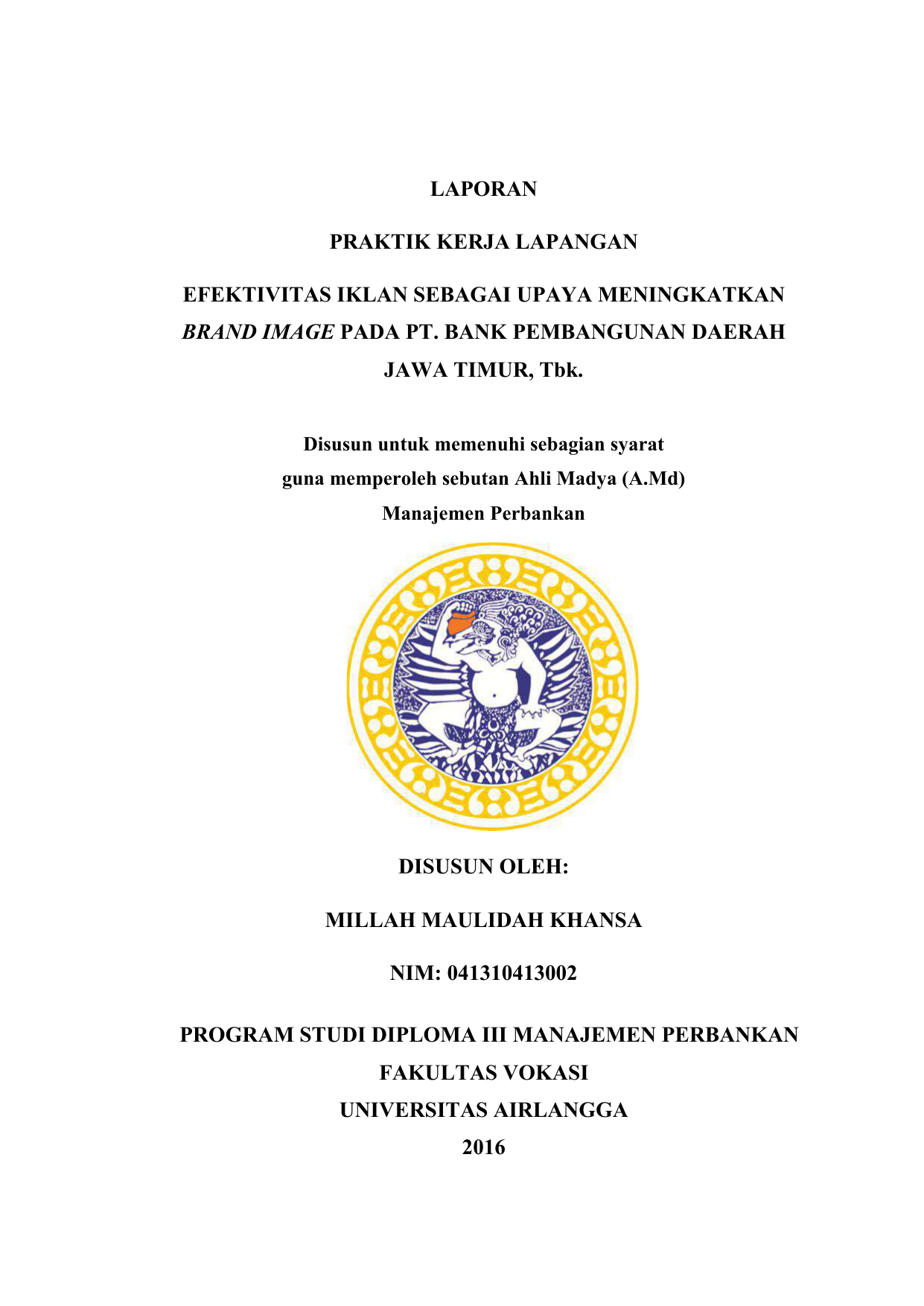Contoh Judul Laporan Pkl Di Bank Jatim Kumpulan Contoh Laporan