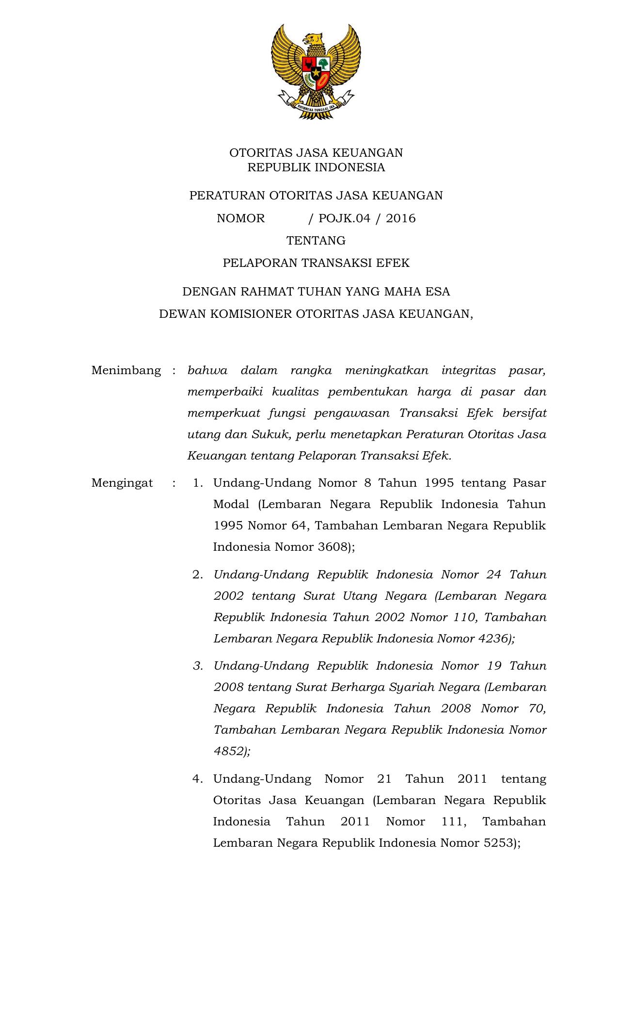 Otoritas Jasa Keuangan Republik Indonesia Peraturan Otoritas