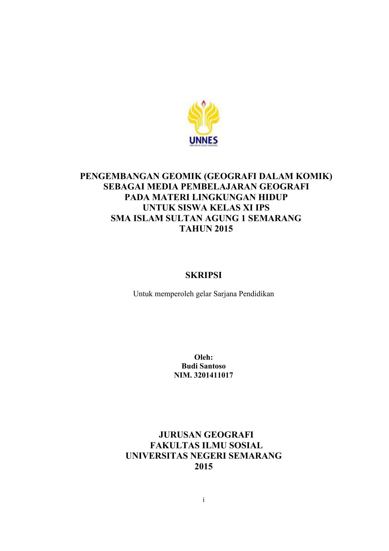 Skripsi Jurusan Geografi Fakultas Ilmu Sosial Universitas