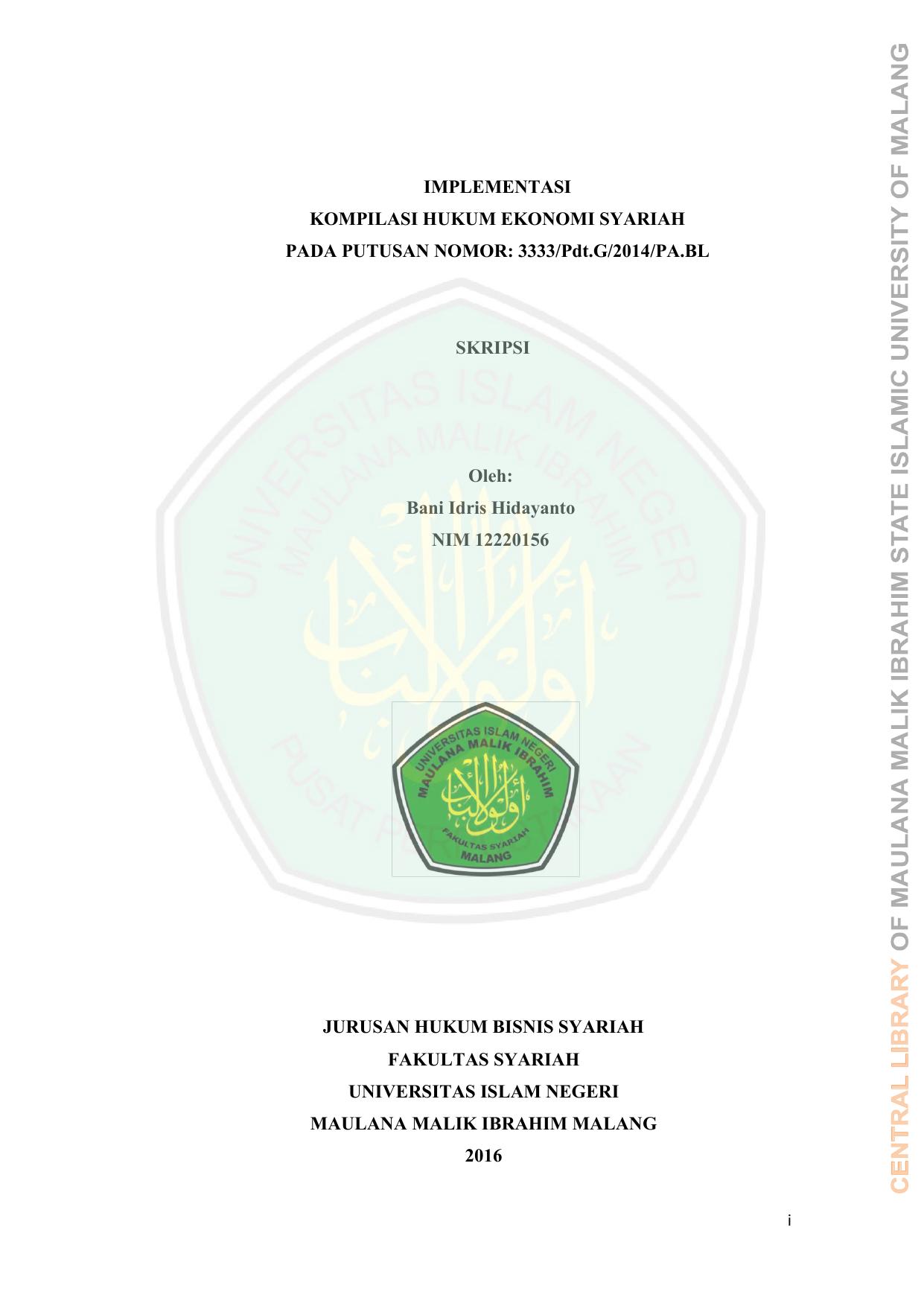 Judul Skripsi Hukum Ekonomi Syariah Ide Judul Skripsi Universitas