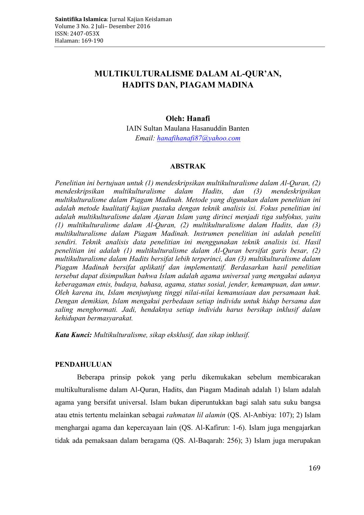 Multikulturalisme Dalam Al Quran Hadits Dan Piagam Madina