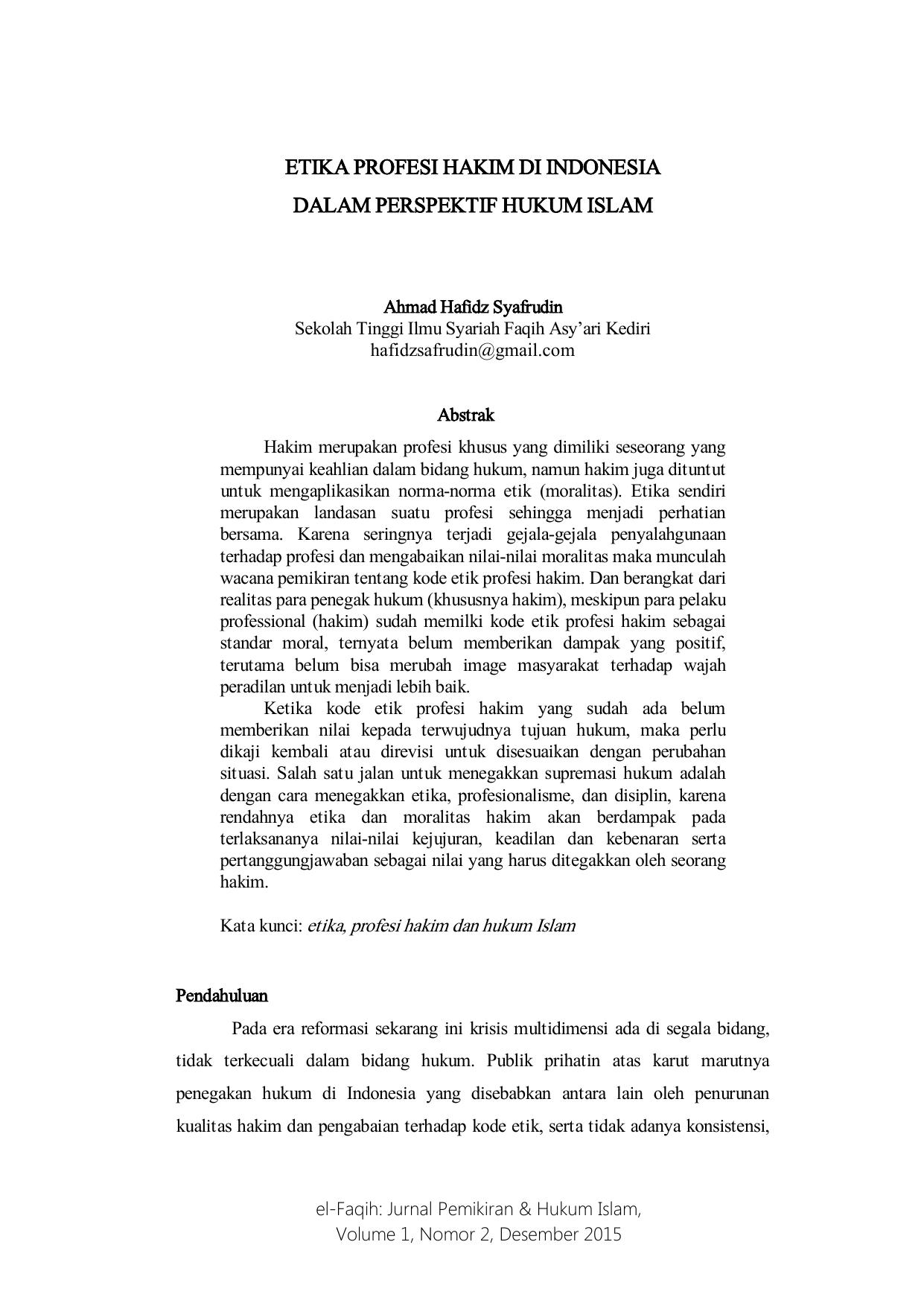 Etika Profesi Hakim Di Indonesia Dalam Perspektif Hukum Islam
