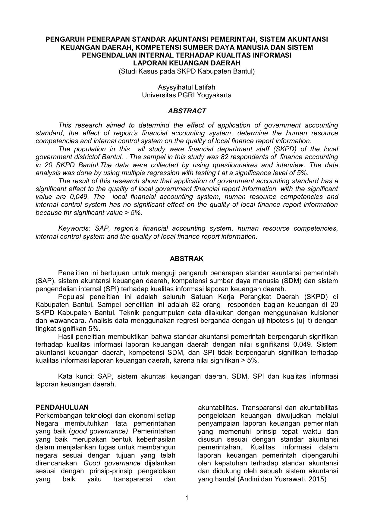 1 Pengaruh Penerapan Standar Akuntansi Pemerintah Sistem