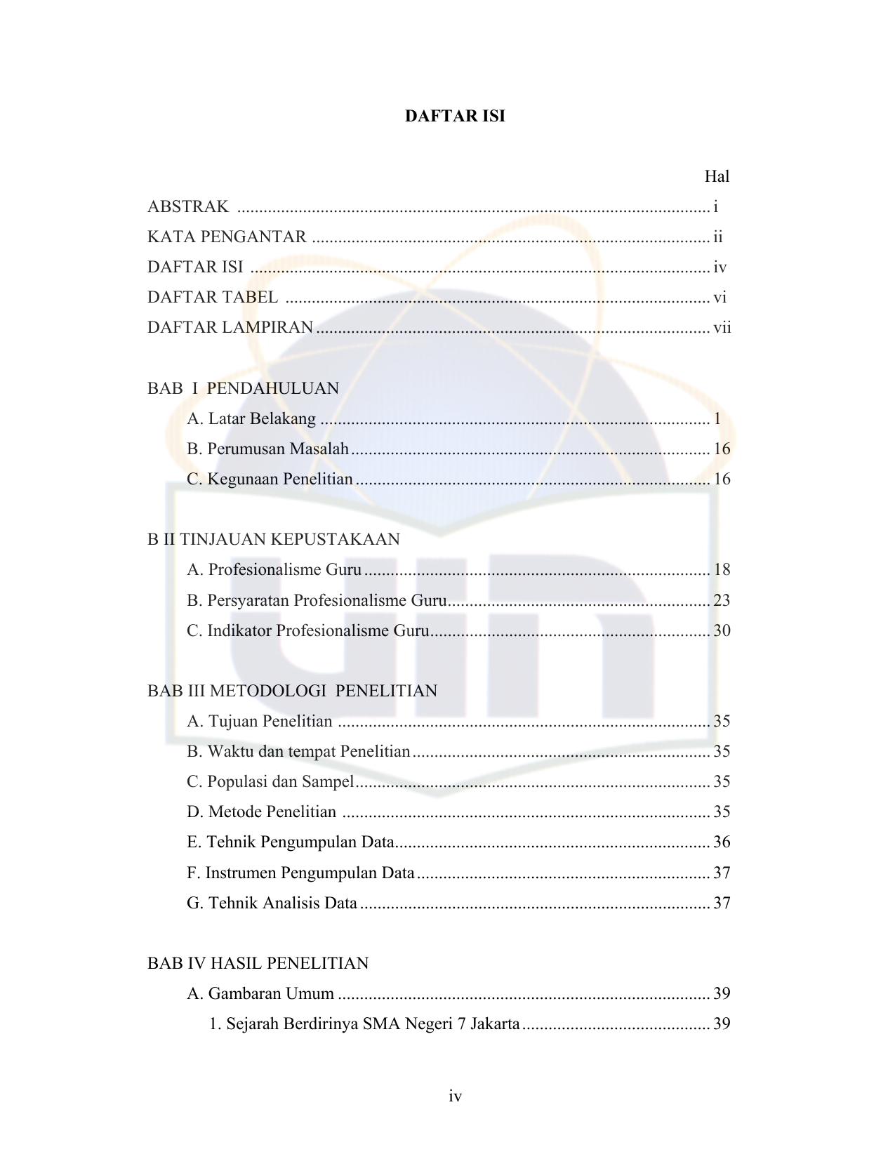 Daftar Isi Hal Abstrak Repository Uin Jakarta