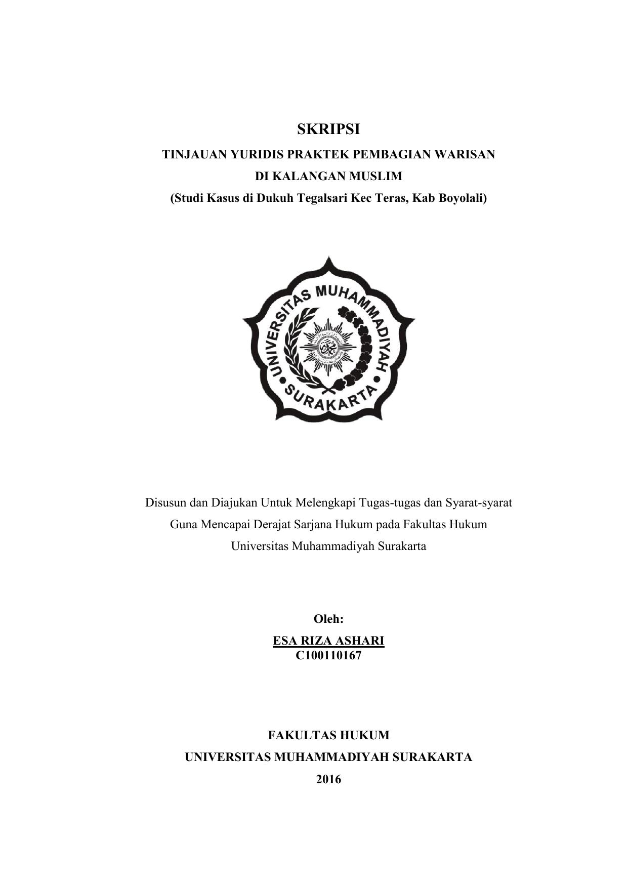 Pdf Halaman Depan Universitas Muhammadiyah Surakarta