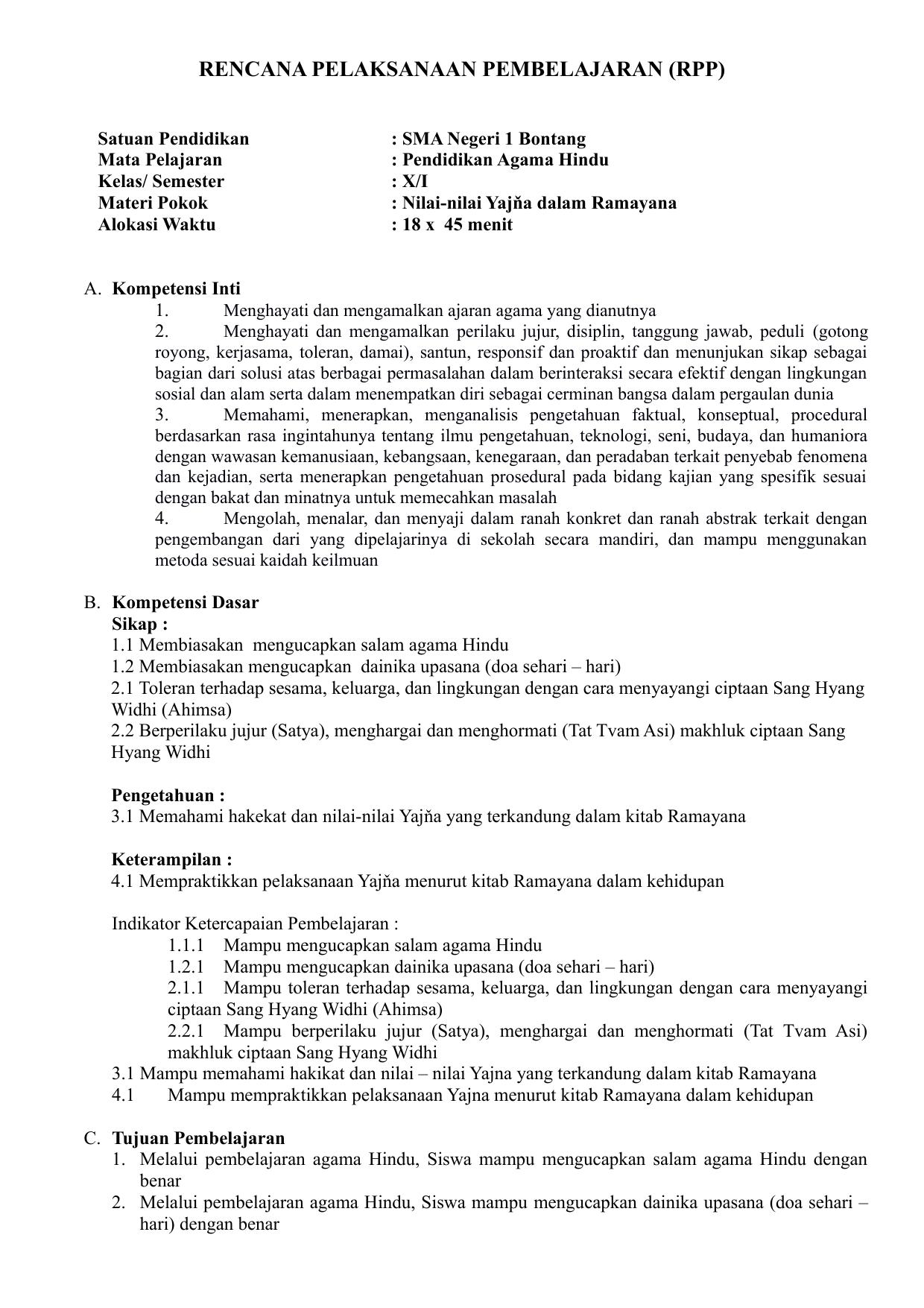 Rencana Pelaksanaan Pembelajaran Rpp