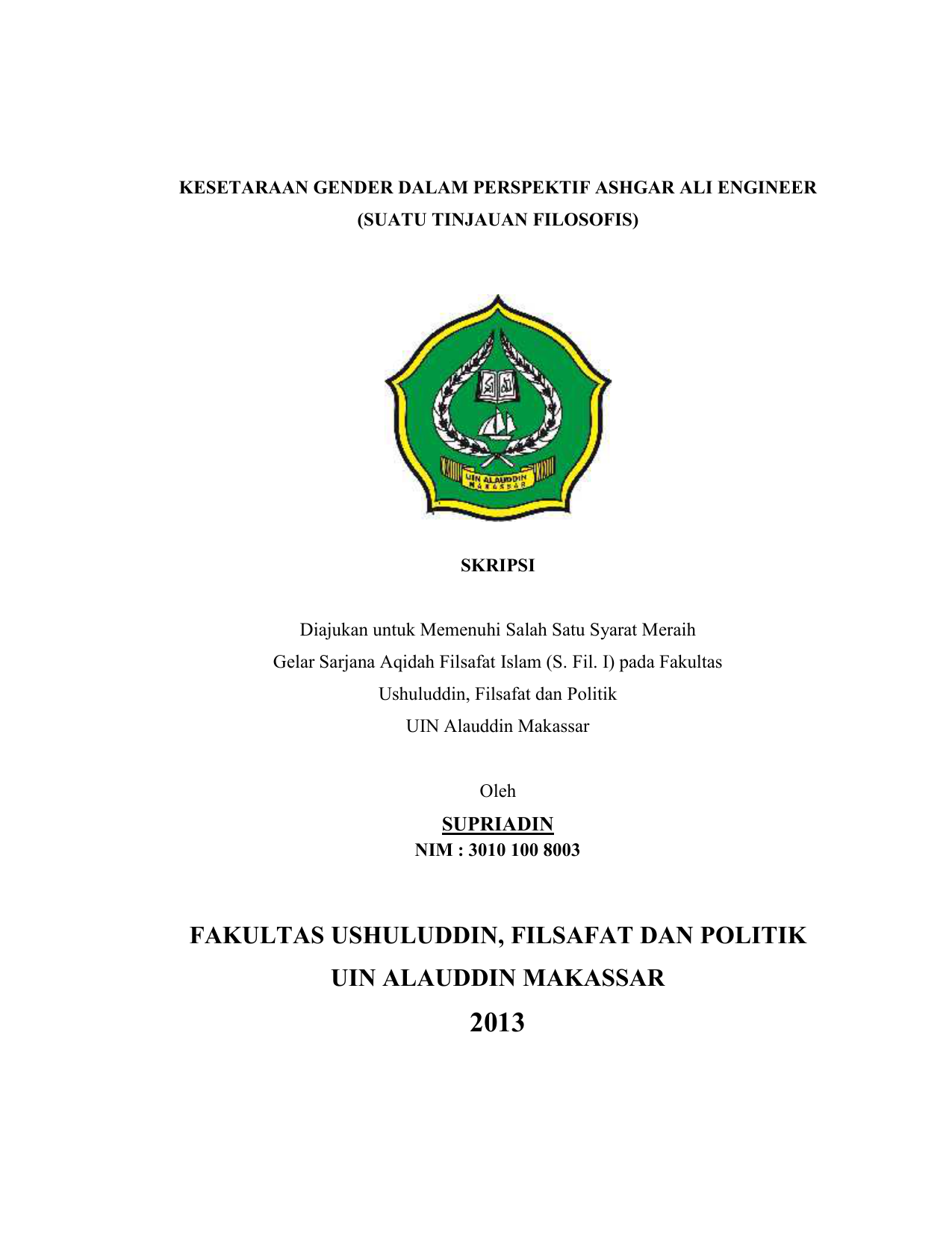 Fakultas Ushuluddin Filsafat Dan Politik Uin Alauddin Makassar
