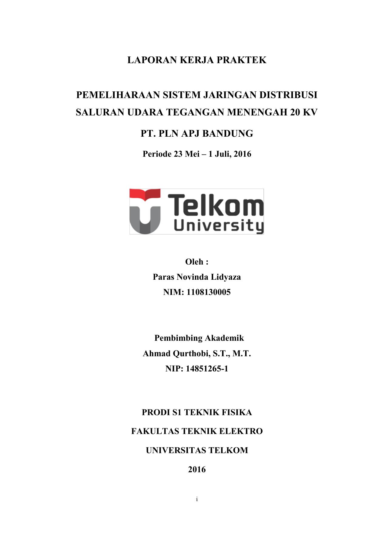 Laporan Kerja Praktek Pemeliharaan Sistem Jaringan Distribusi
