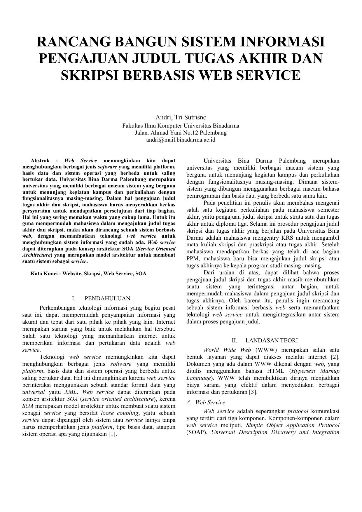 Judul Skripsi Ilmu Komputer Sistem Informasi Kumpulan Berbagai Skripsi
