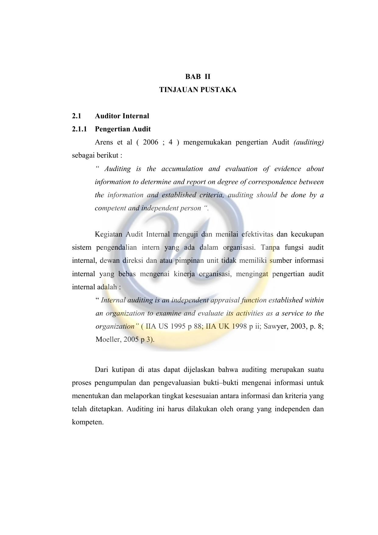 Peran Auditor Internal Dalam Menunjang Kinerja Manajer Pada Pt