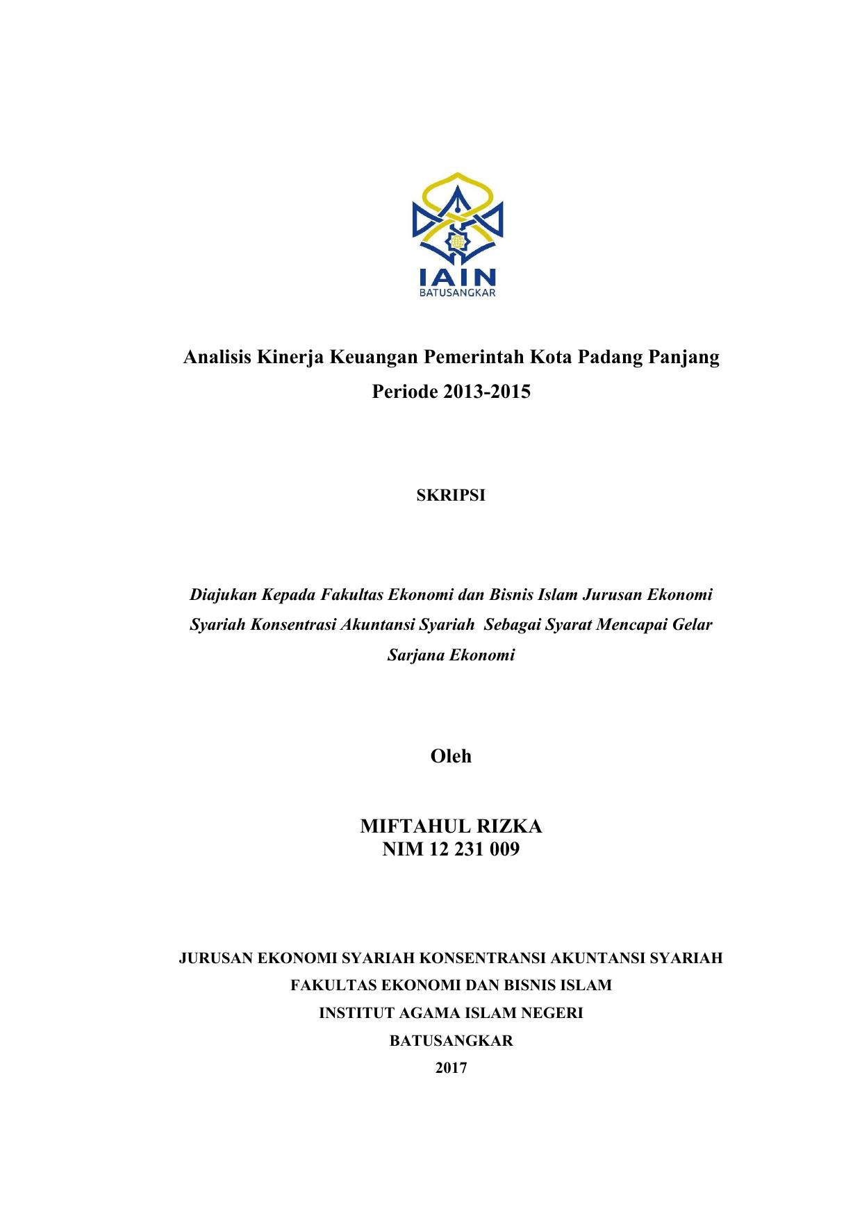 Analisis Kinerja Keuangan Pemerintah Kota Padang Panjang