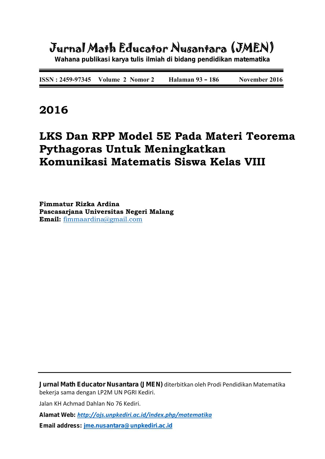 2016 Lks Dan Rpp Model 5e Pada Materi Teorema Pythagoras