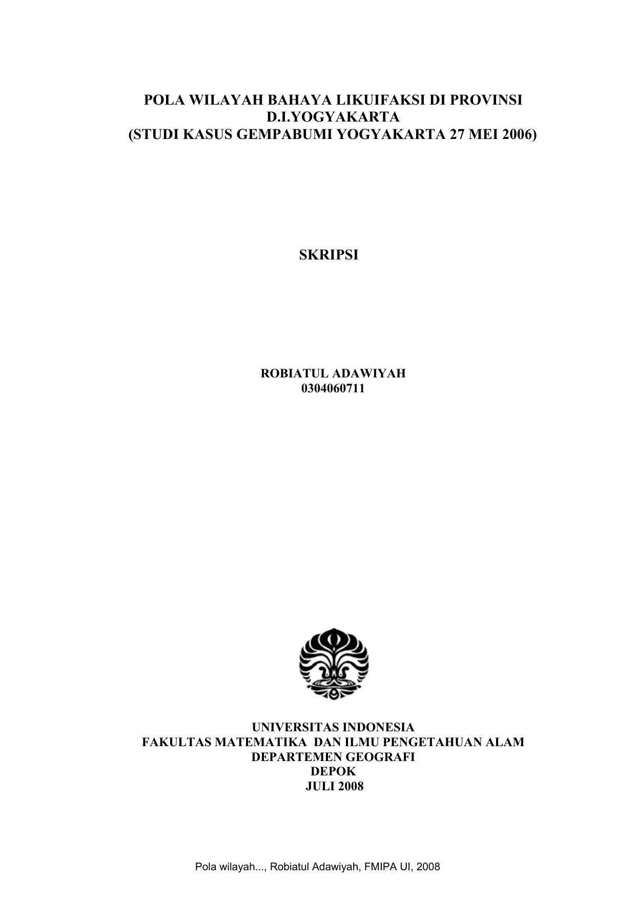 Studi Kasus Gempabumi Yogyakarta 27 Mei 2006 Skripsi