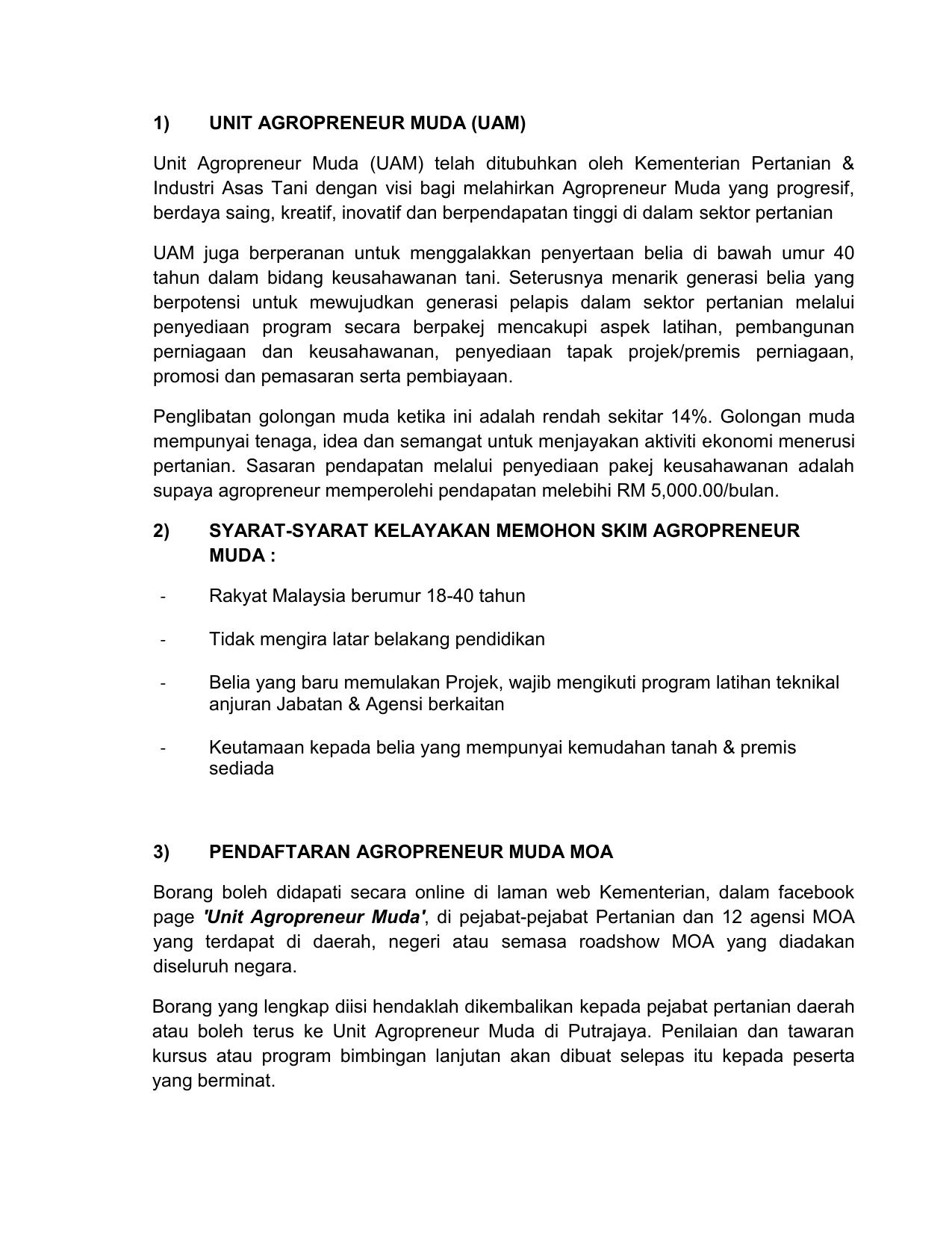 Unit Agropreneur Muda Uam Kementerian Pertanian Dan Industri