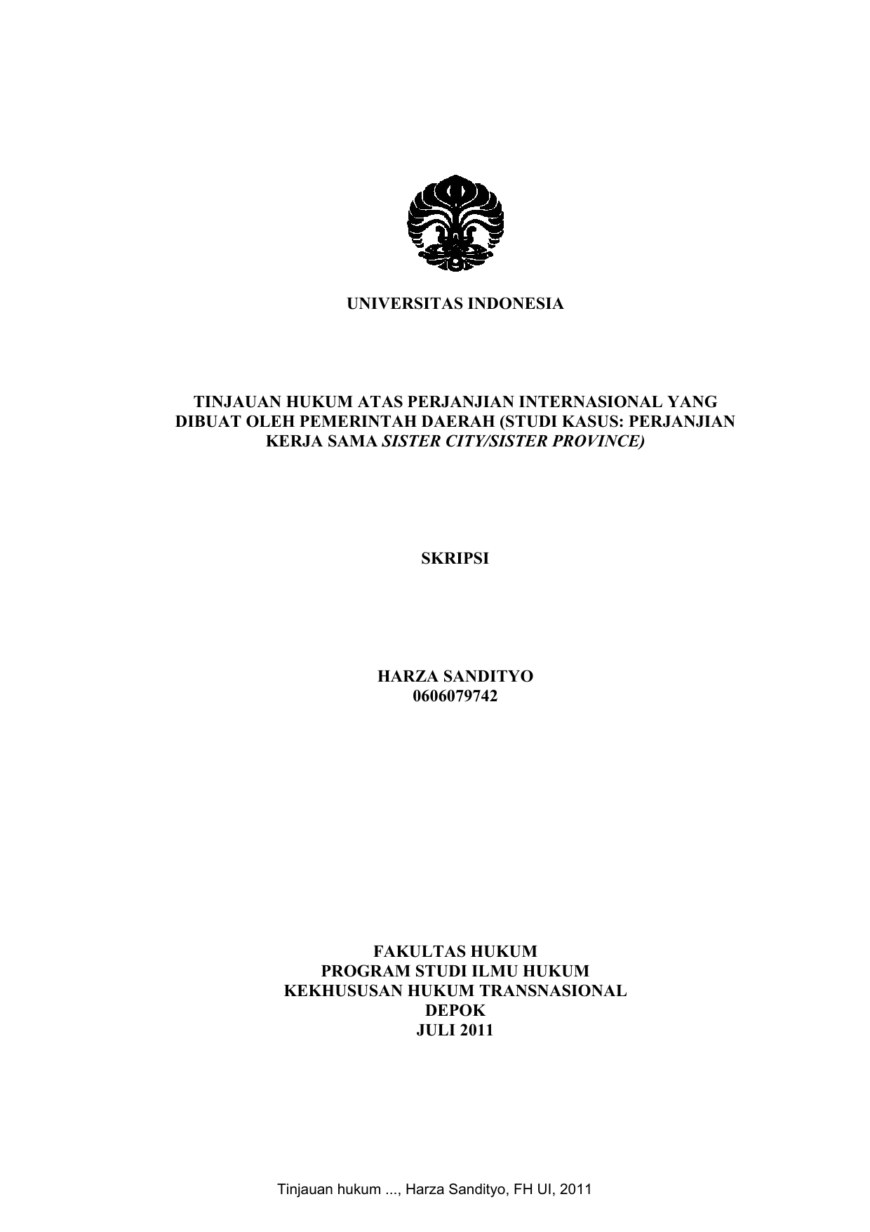 Universitas Indonesia Tinjauan Hukum Atas Perjanjian Internasional