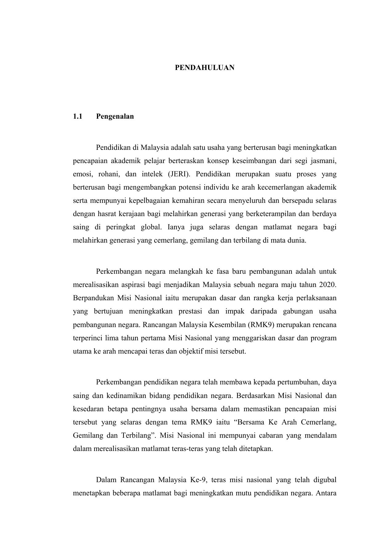 Pendahuluan 1 1 Pengenalan Pendidikan Di Malaysia Adalah