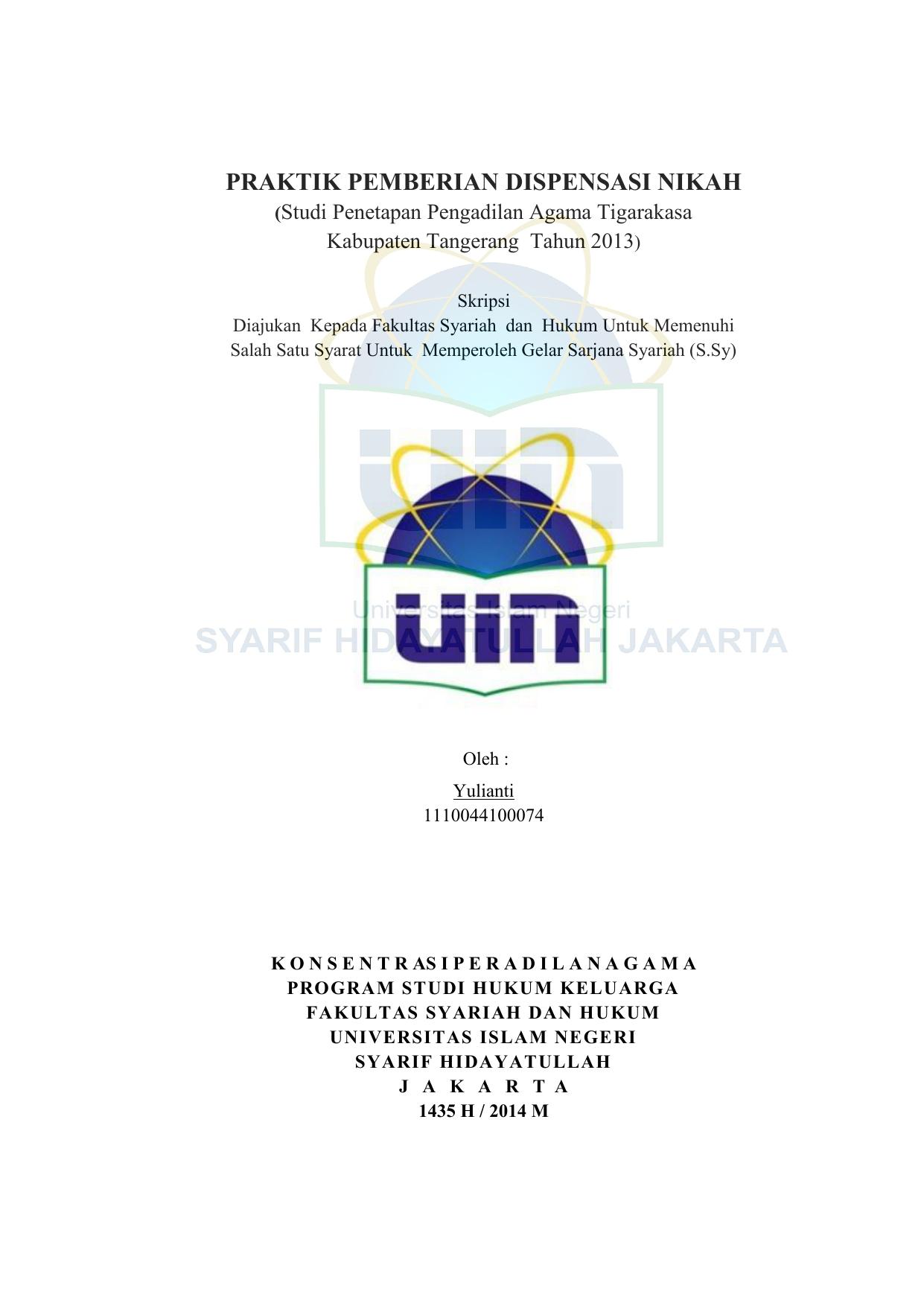 Praktik Pemberian Dispensasi Nikah Uin Repository