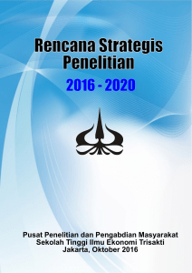 Rencana Strategis Penelitian 2016