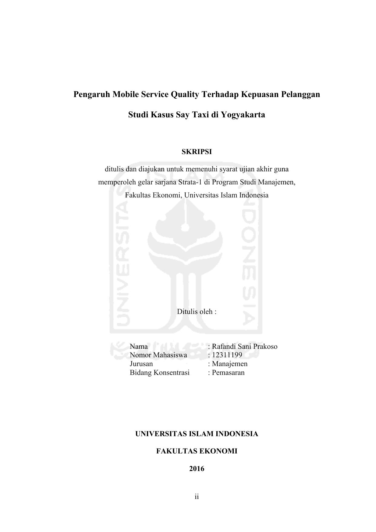 Pengaruh Mobile Service Quality Terhadap Kepuasan Pelanggan