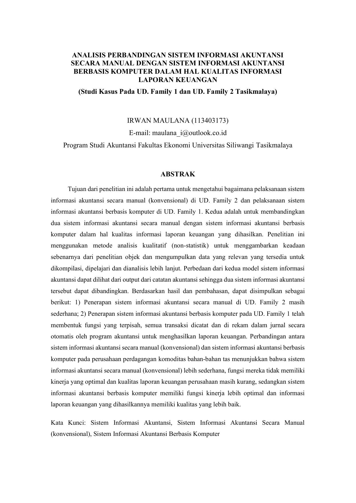 Analisis Perbandingan Sistem Informasi Akuntansi