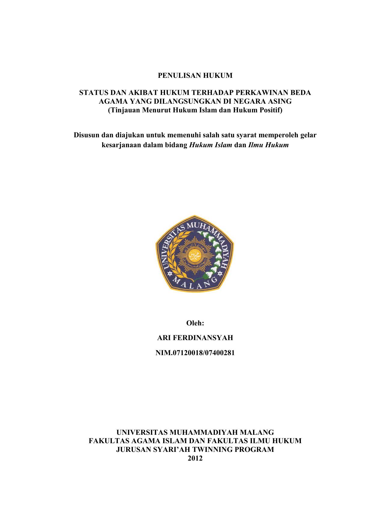 Contoh Proposal Skripsi Hukum Perdata Tentang Perkawinan Beda Agama Kumpulan Berbagai Skripsi