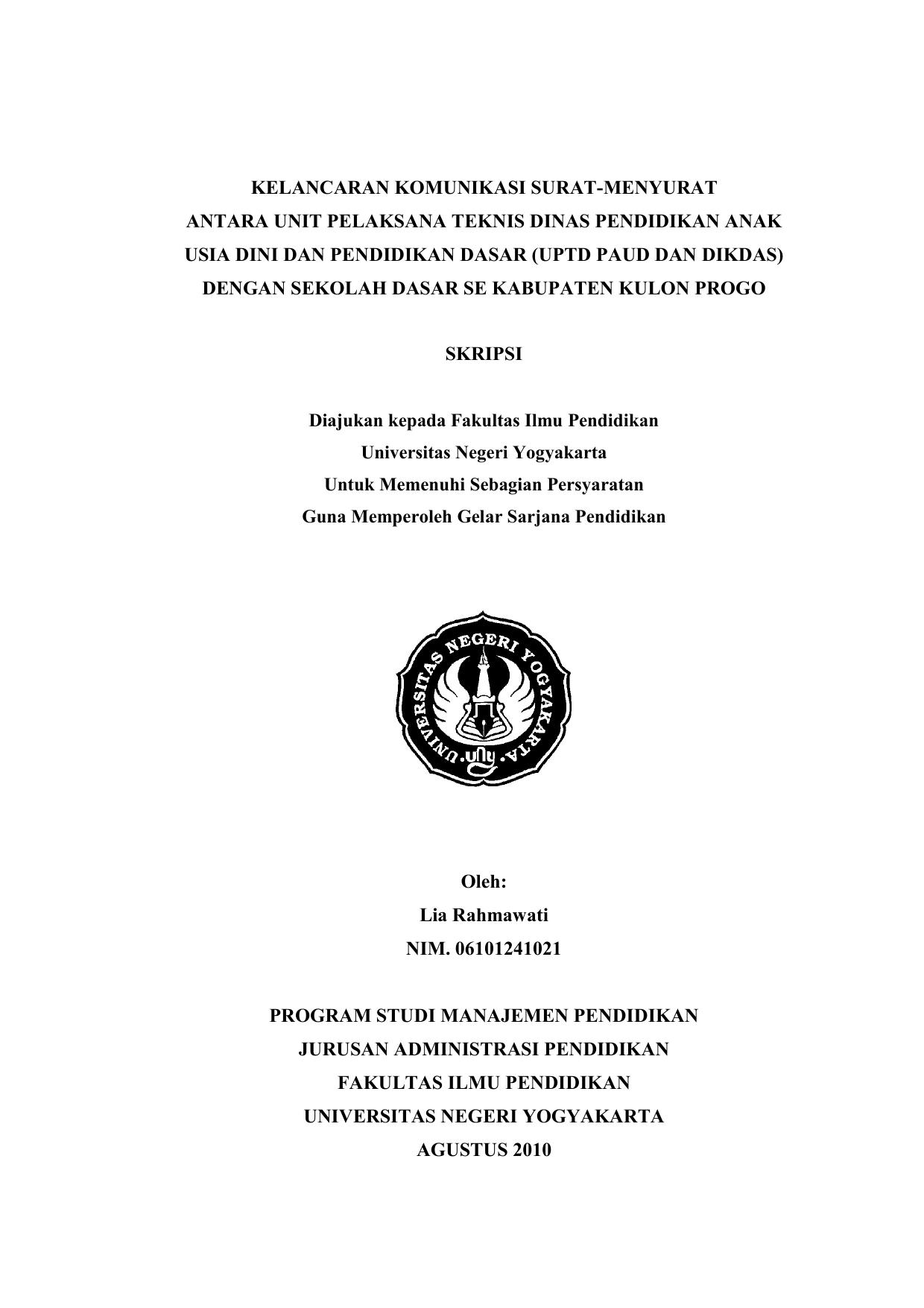 Kelancaran Komunikasi Surat Menyurat Antara Unit Pelaksana