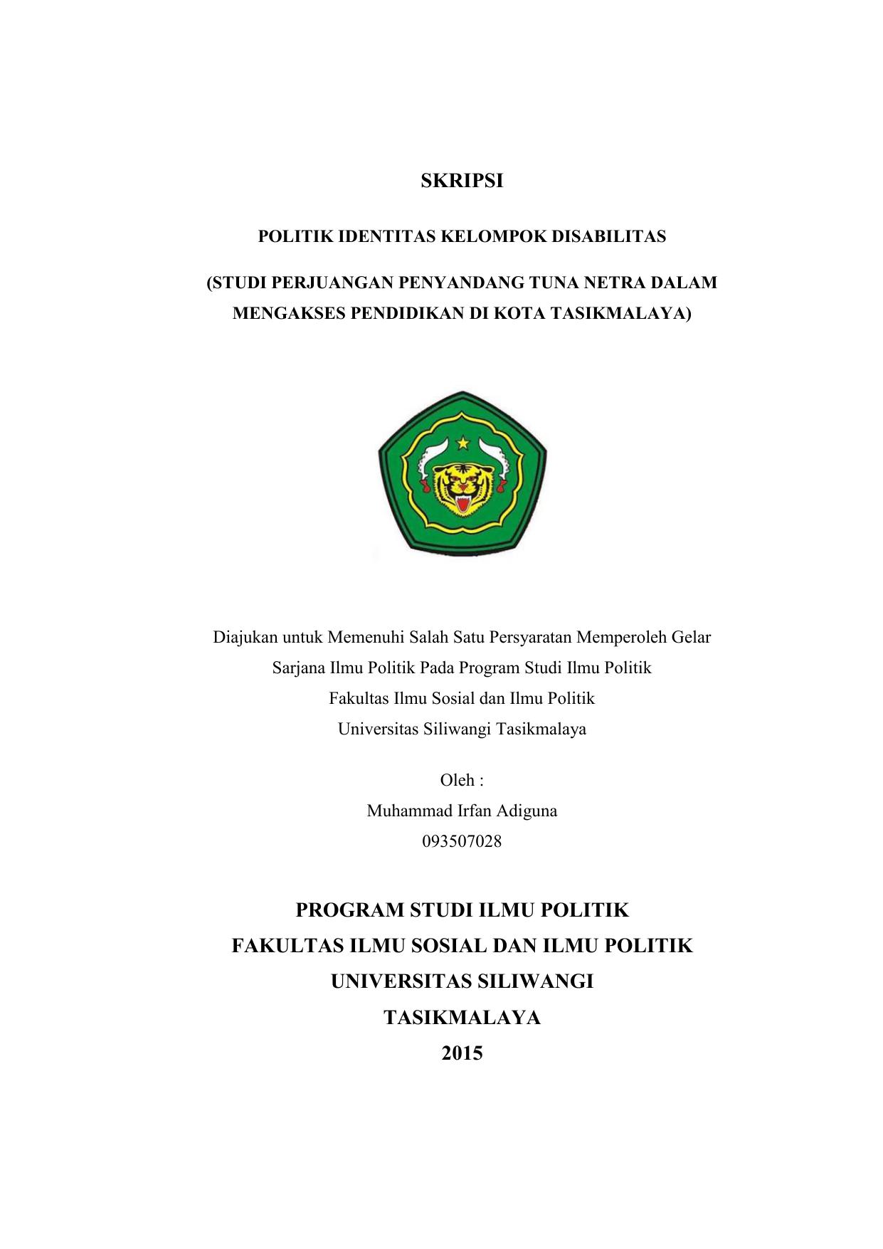 Skripsi Program Studi Ilmu Politik Fakultas Ilmu Sosial